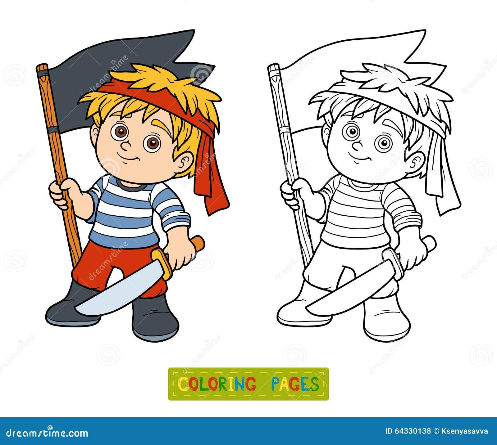 Livre De Coloriage Pour Des Enfants Garcon De Pirate Illustration De Vecteur Illustration Du Garcon Livre 64330138