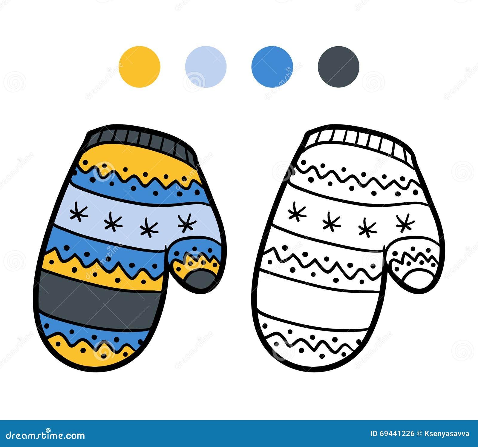 livre de coloriage pour des enfants  mitaine tricot u00e9e avec le mod u00e8le d u0026 39 hiver illustration de