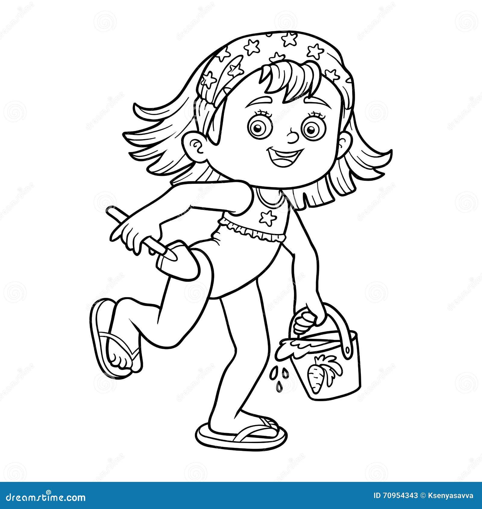 illustration stock livre de coloriage pour des enfants petite fille sur la plage image