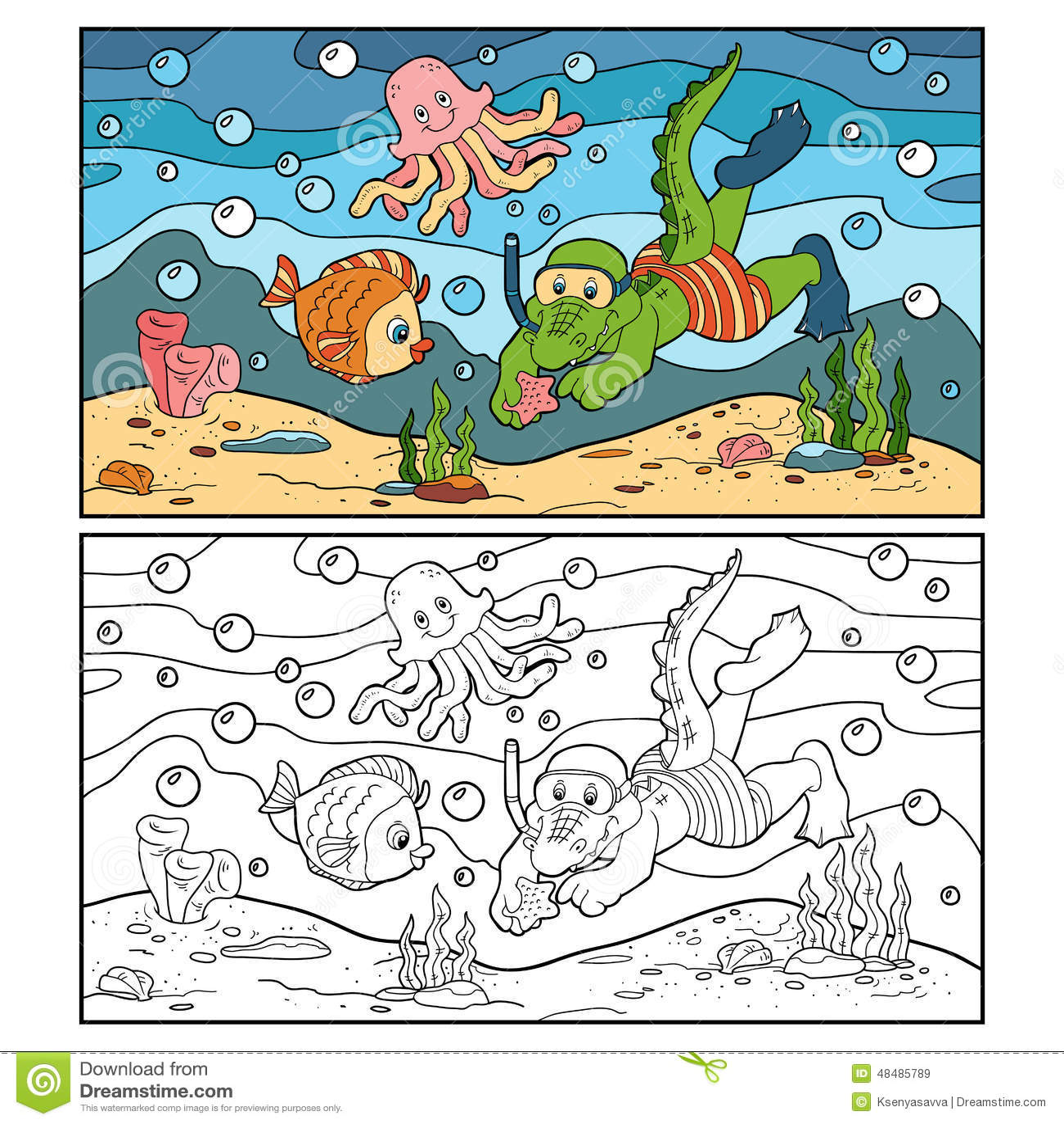 Livre De Coloriage Pour Des Enfants Plongeur De Crocodile Fond
