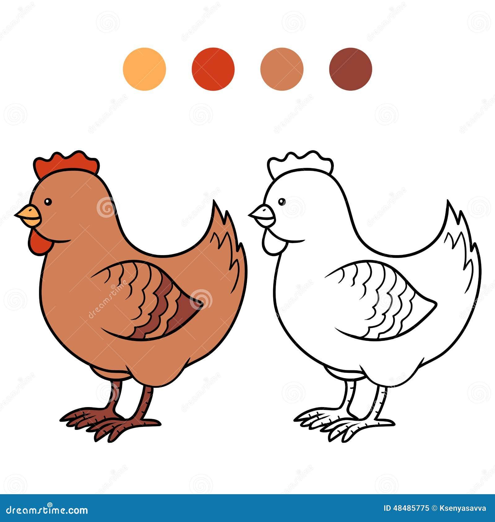 Livre De Coloriage Pour Des Enfants (poulet) Illustration de Vecteur - Illustration du colorless ...
