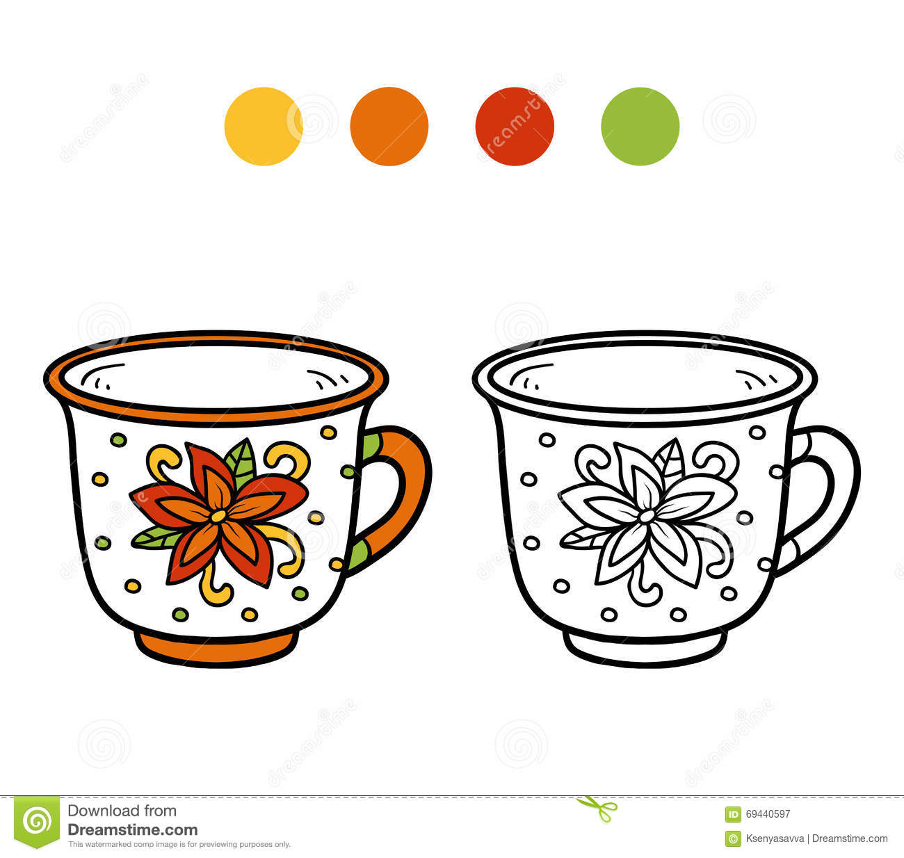 livre de coloriage pour des enfants une tasse avec la fleur illustration de vecteur image. Black Bedroom Furniture Sets. Home Design Ideas