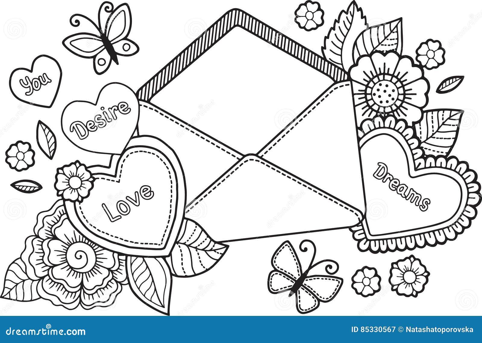 Livre De Coloriage Pour L Adulte Je T Aime Rose Rouge Illustration De Vecteur Illustration Du Adulte Rose 85330567
