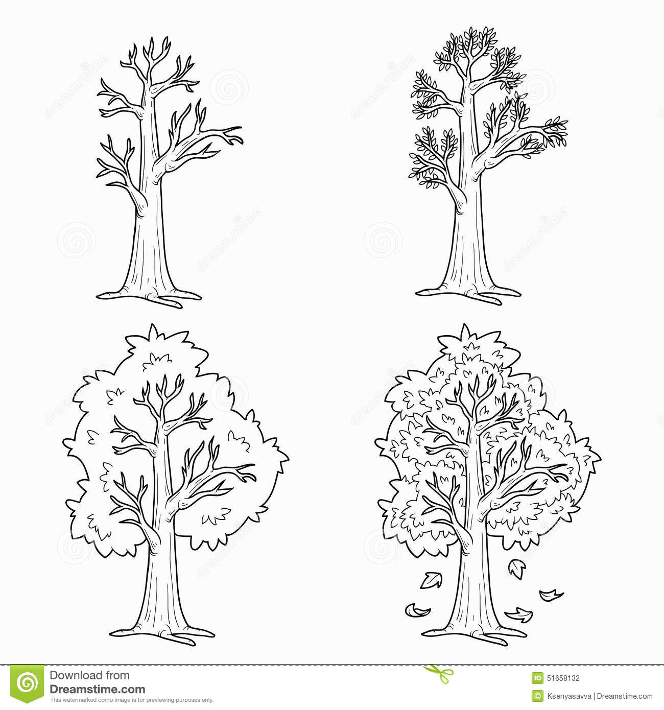 Coloriage Arbre 4 Saisons.Les 4 Saisons Coloriage You Project Info