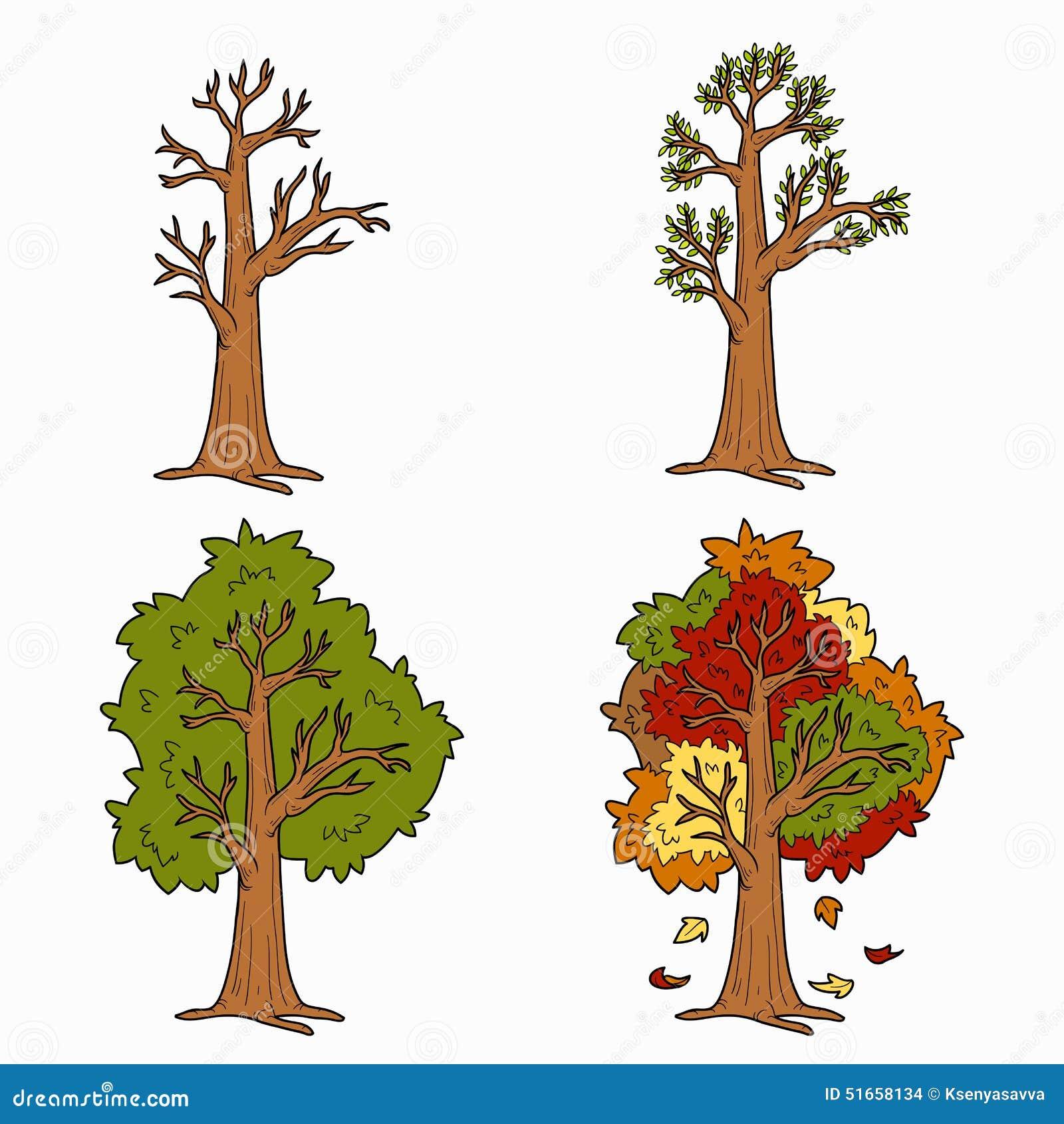 Livre de coloriage quatre saisons illustration de vecteur illustration du changement vert - Dessin 4 saisons ...