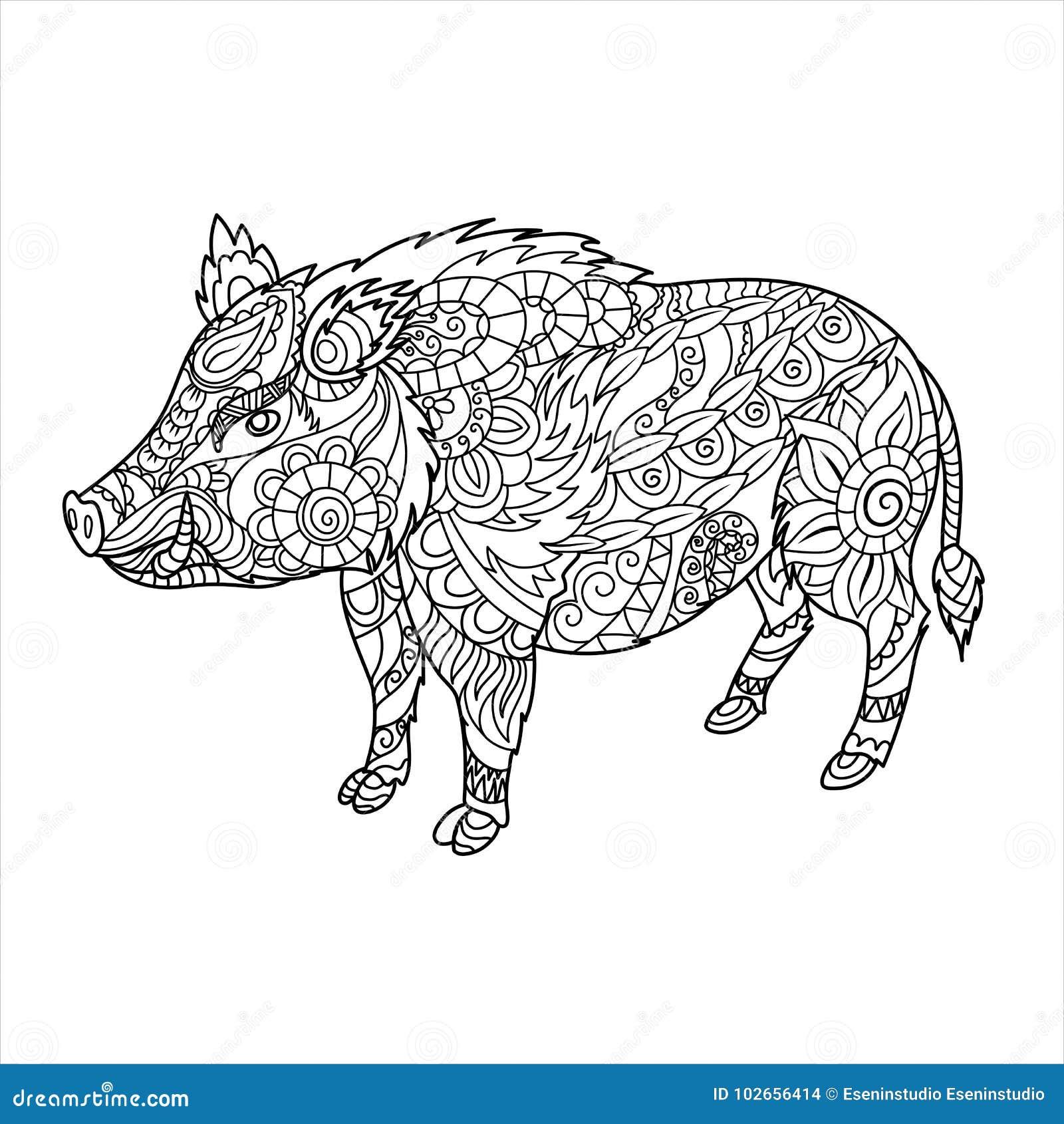 Coloriage Adulte Foret.Livre De Coloriage De Sanglier Animal De Foret Dans Le Style