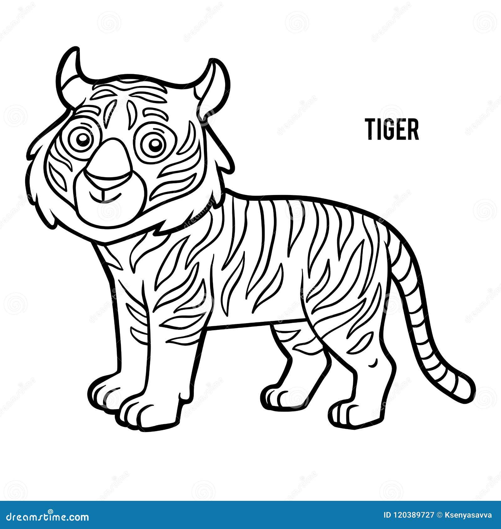 Coloriage Tigre.Livre De Coloriage Tigre Illustration De Vecteur Illustration Du