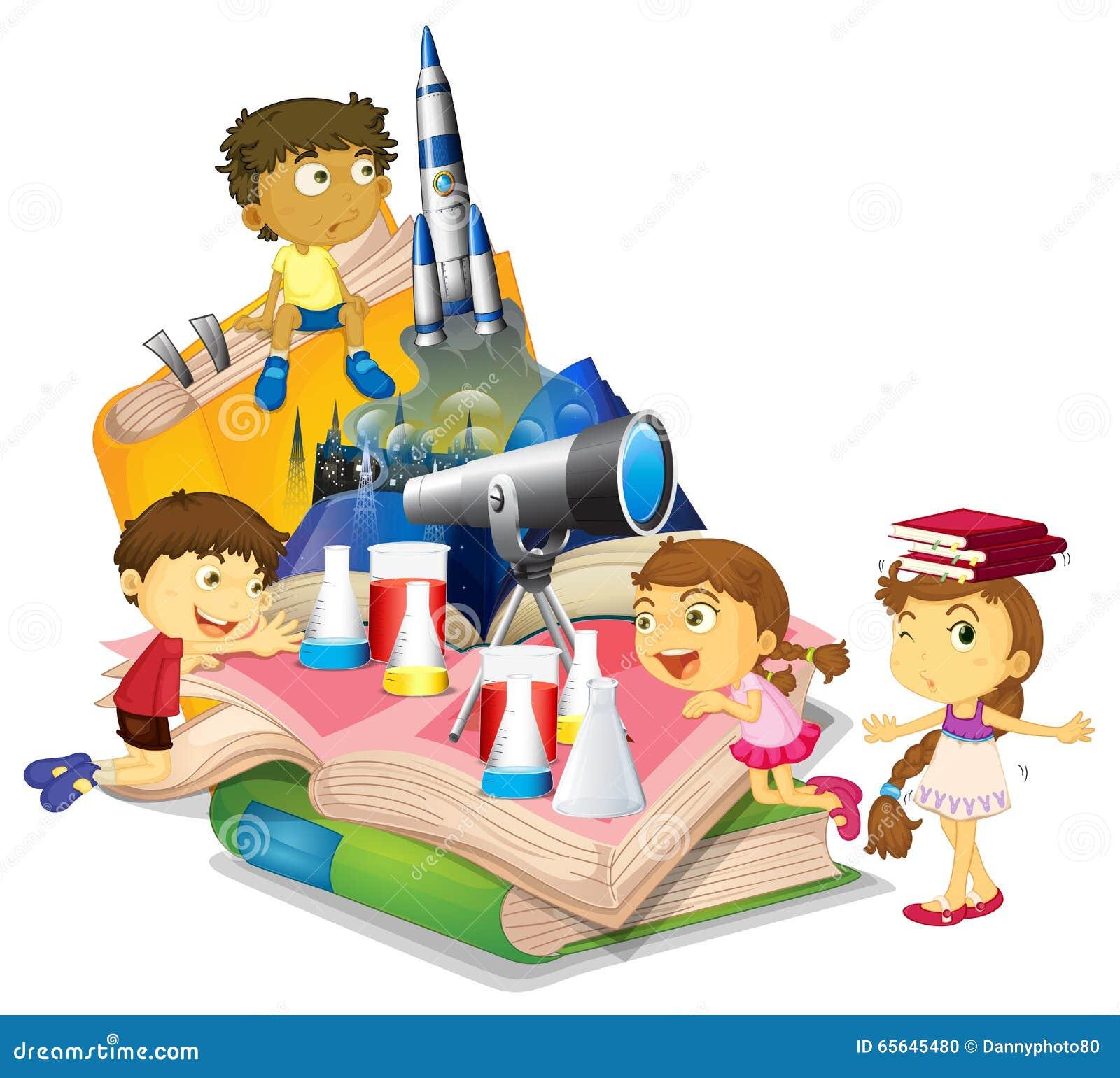 Livre de la Science avec les enfants et l équipement