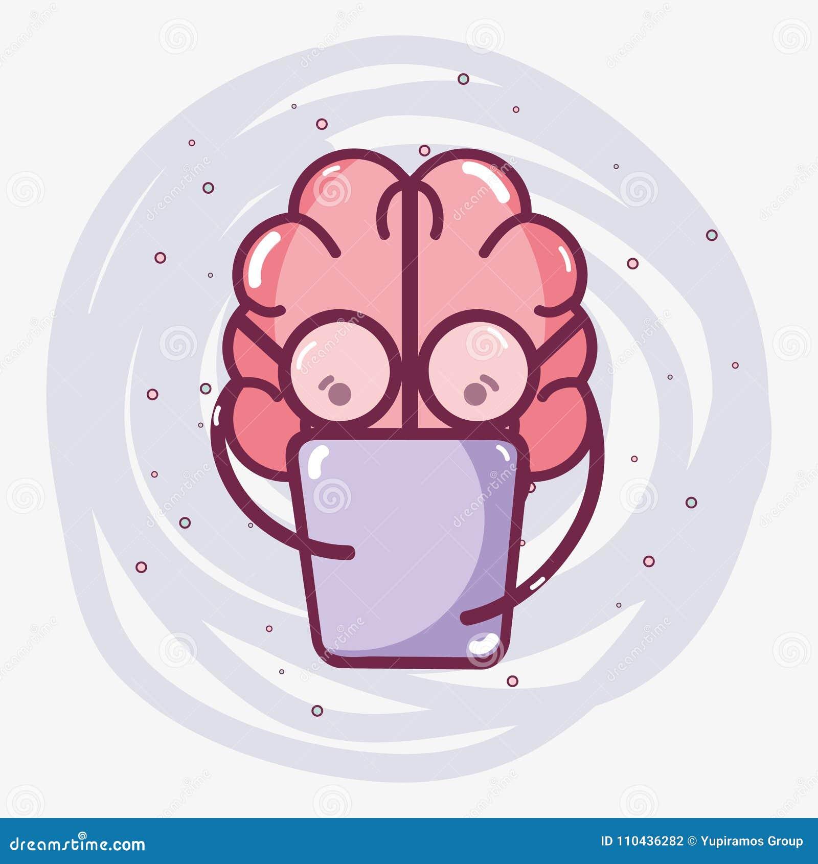 Livre De Lecture Adorable De Cerveau De Kawaii D Icone