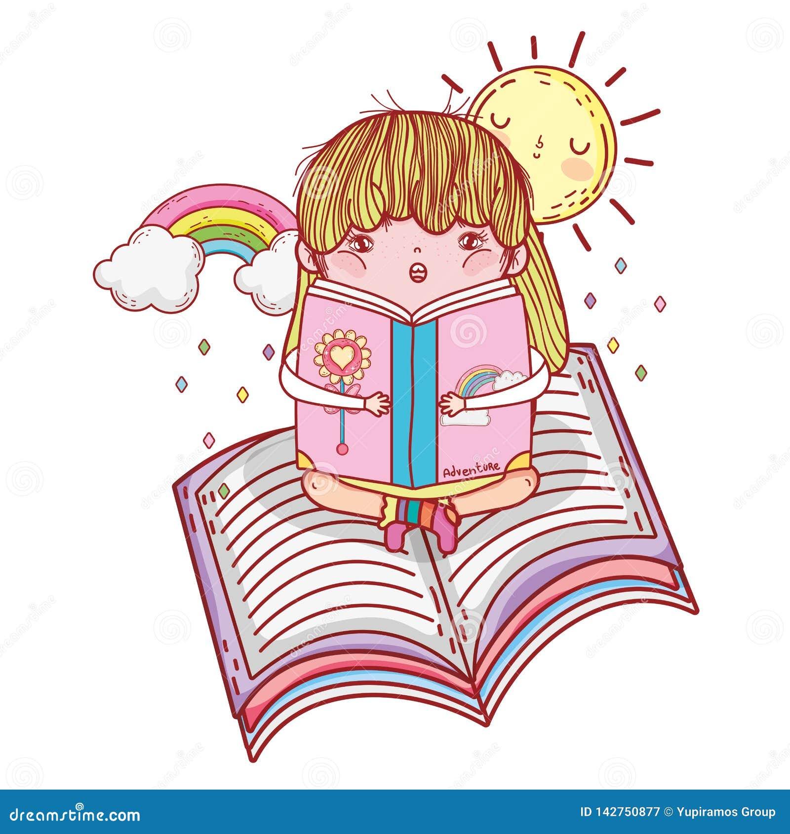 Livre De Lecture De Fille Avec Le Kawaii D Arc En Ciel Et De