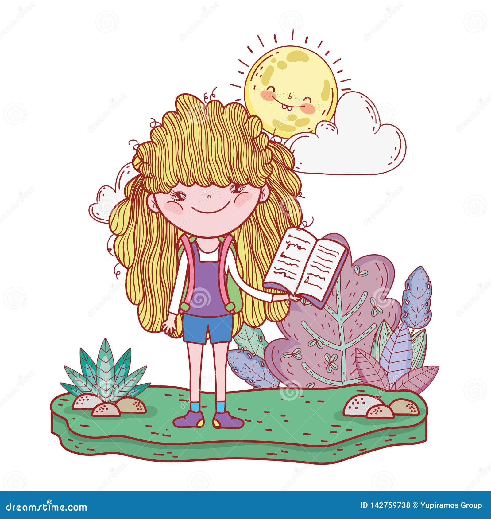 Livre De Lecture Heureux De Petite Fille Avec Le Kawaii Du
