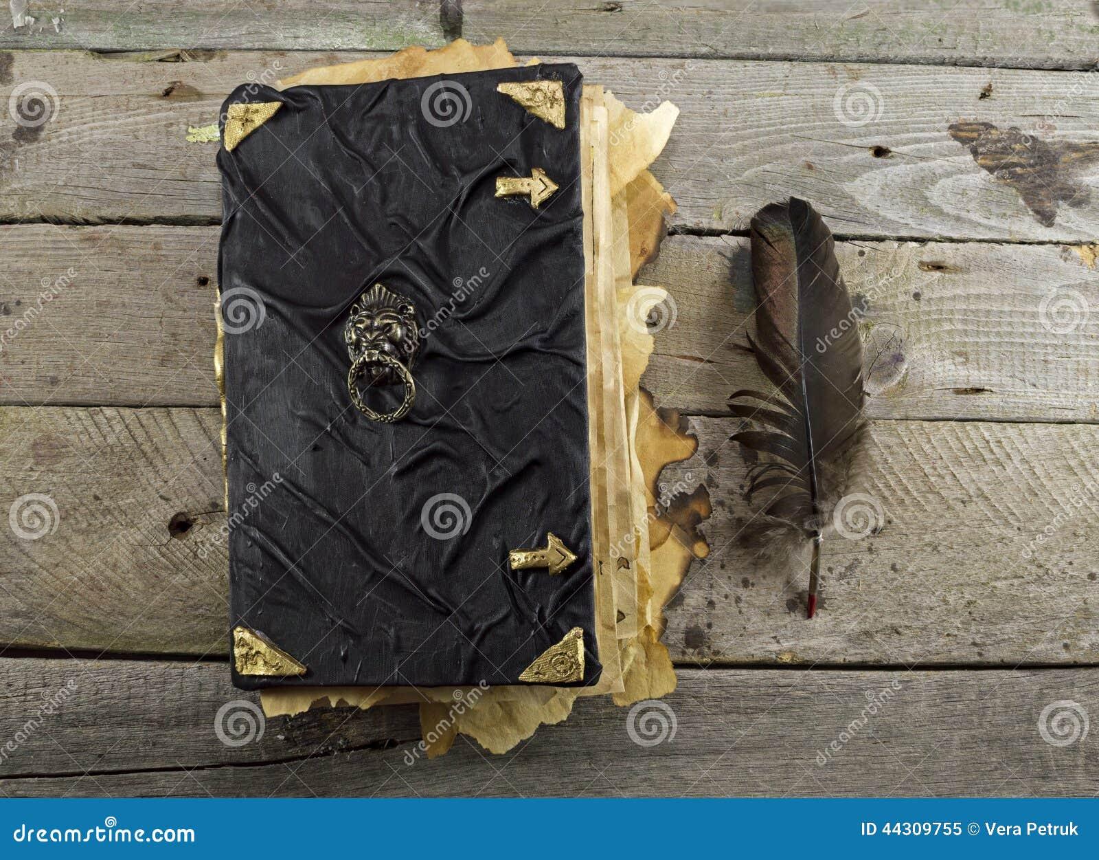 Livre De Magie Noire Sur Les Planches 2 Image stock
