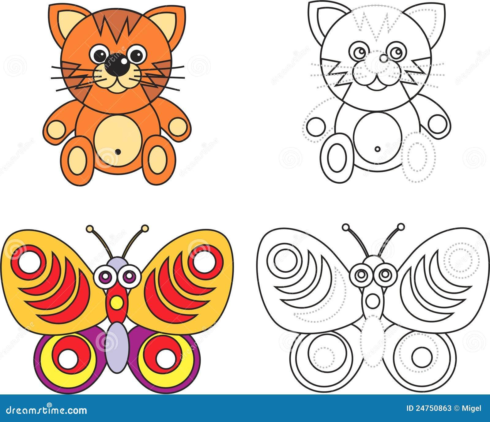 Livre de page de coloration pour des gosses - chat et guindineau