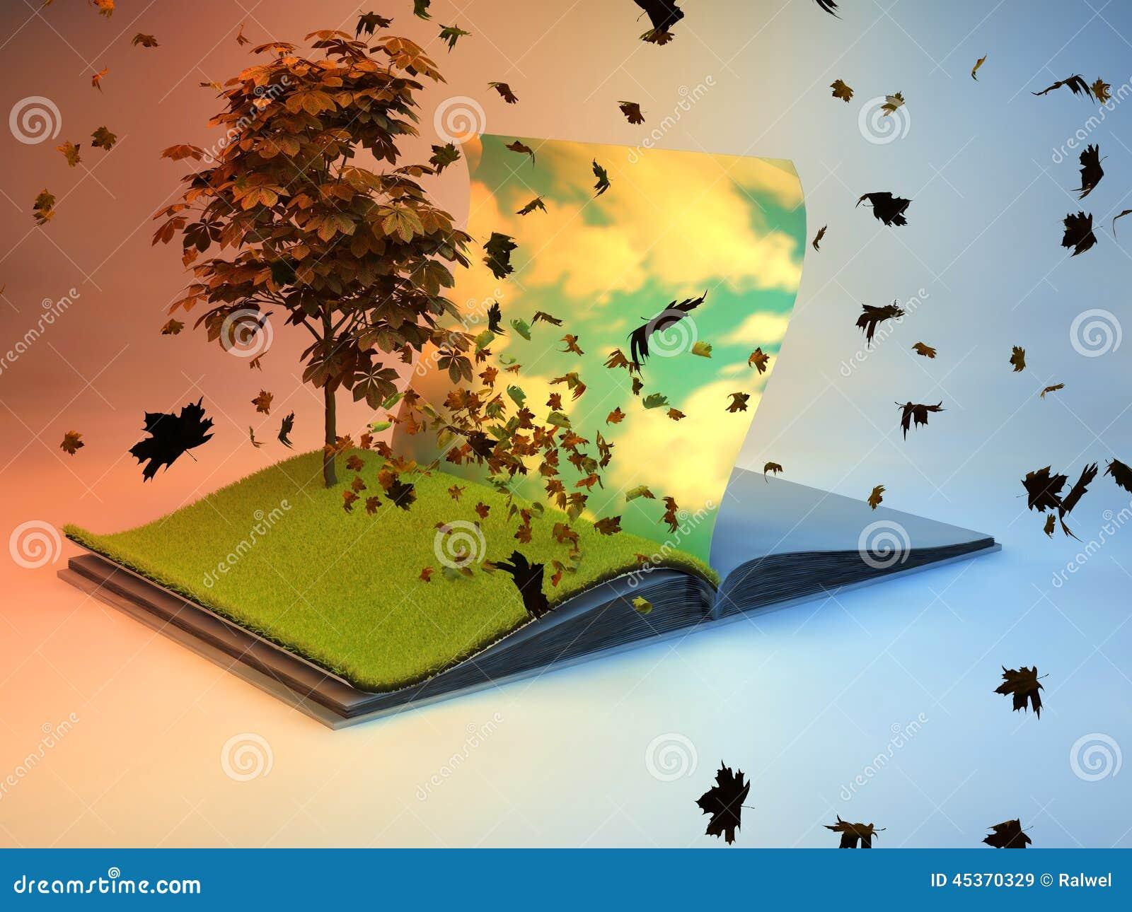 Livre de stylo avec l arbre à la page