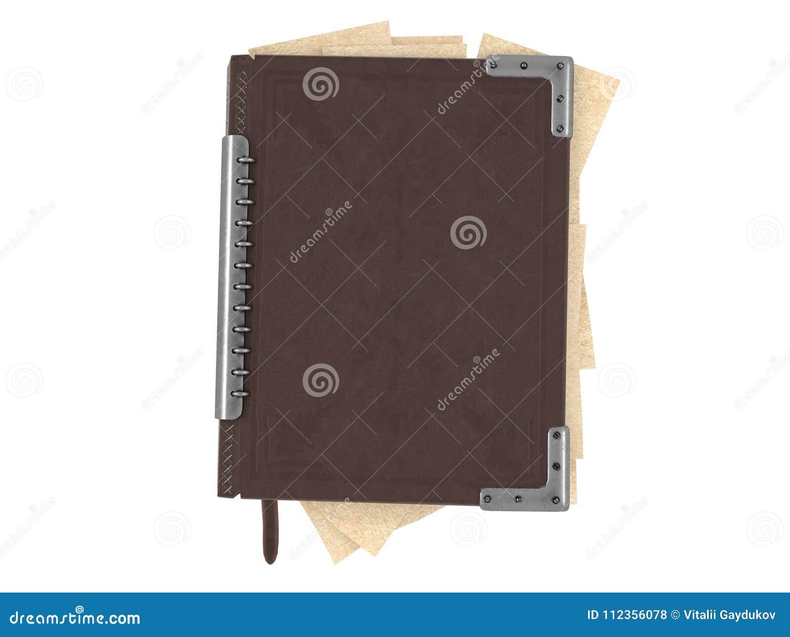 Livre fermé dans la couverture en cuir sur le fond blanc d