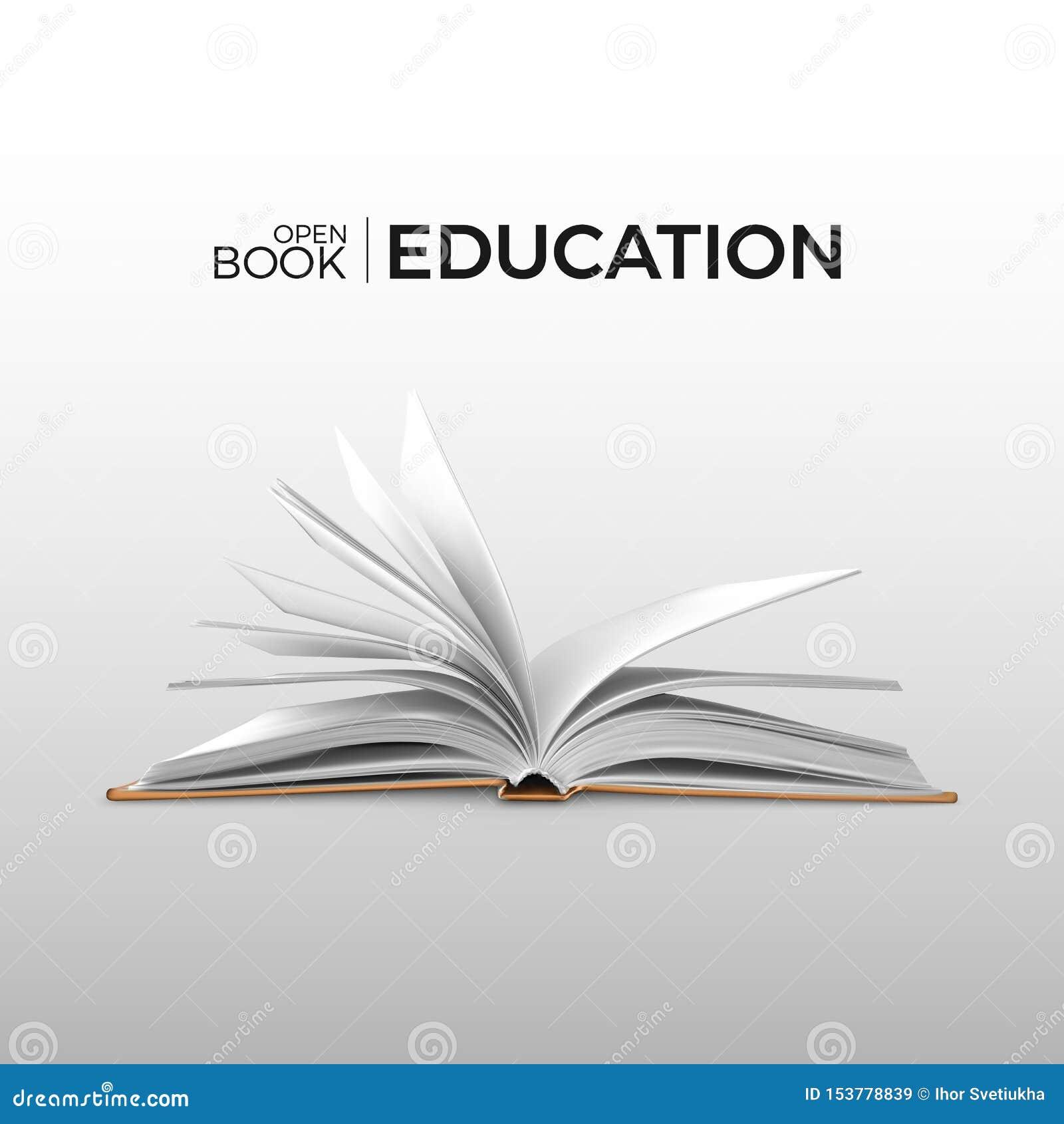 Livre ouvert réaliste d éducation et d étude avec des white pages Calibre de manuel Illustration de vecteur