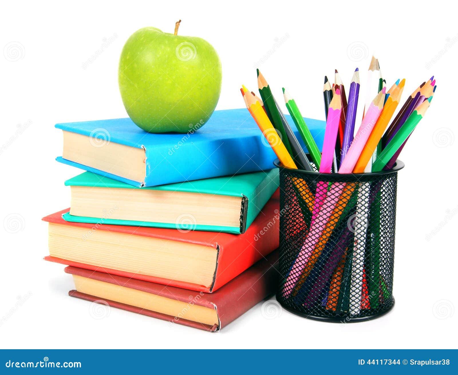 livres  une pomme et crayons sur le fond blanc photo stock clip art crayons brown clip art crayons and paper