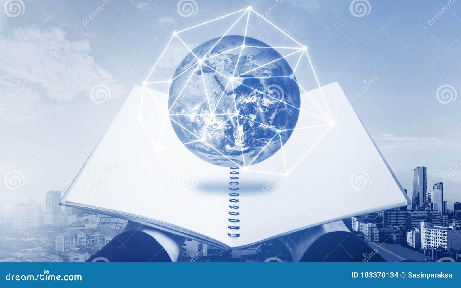 Livro aberto com holograma do globo Educação, tecnologia do conhecimento e ensino eletrónico, conceito do eBook Os elementos dest