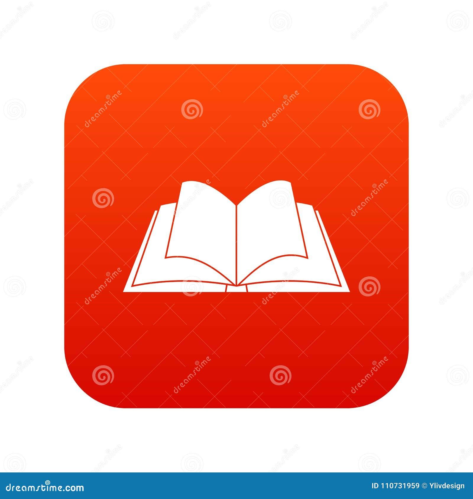 Livro aberto com vermelho digital de vibração do ícone das páginas