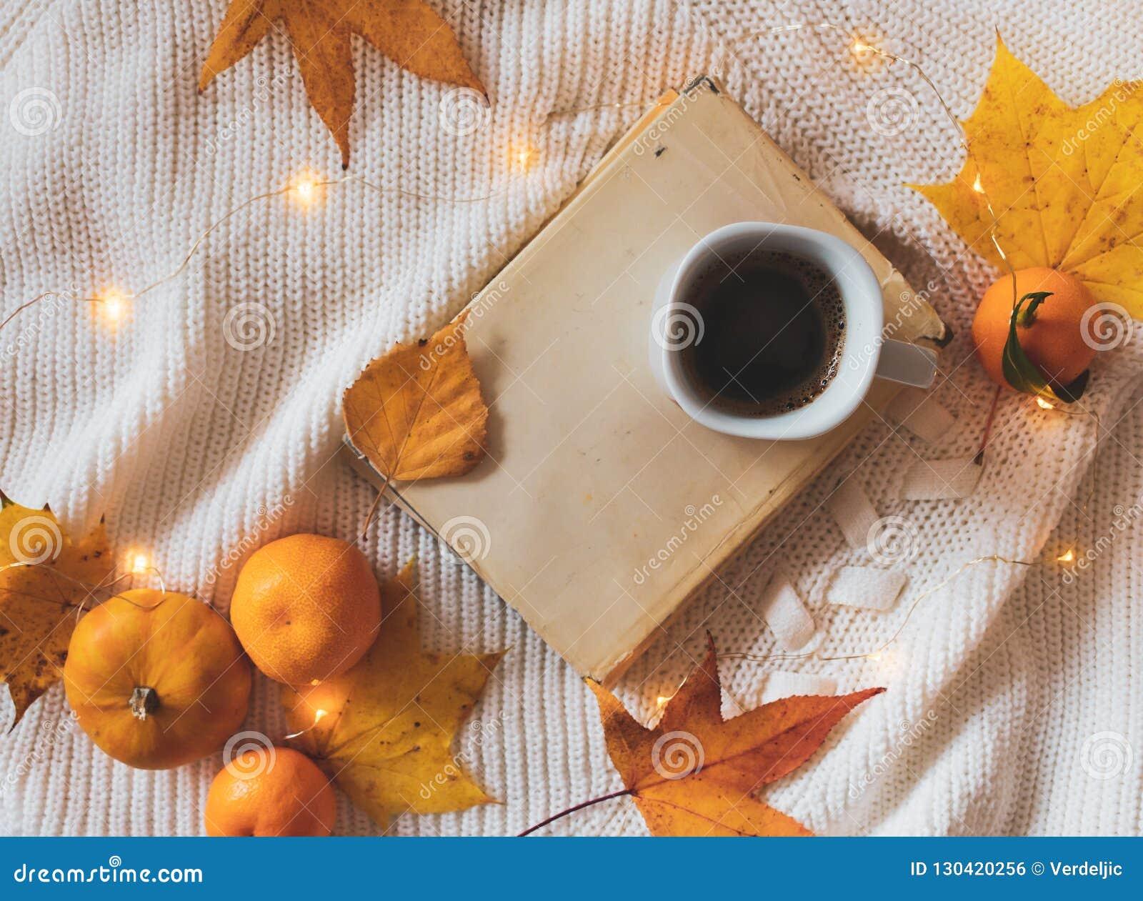 Livro, café, folhas douradas, laranjas, abóbora e luzes em uma camiseta branca
