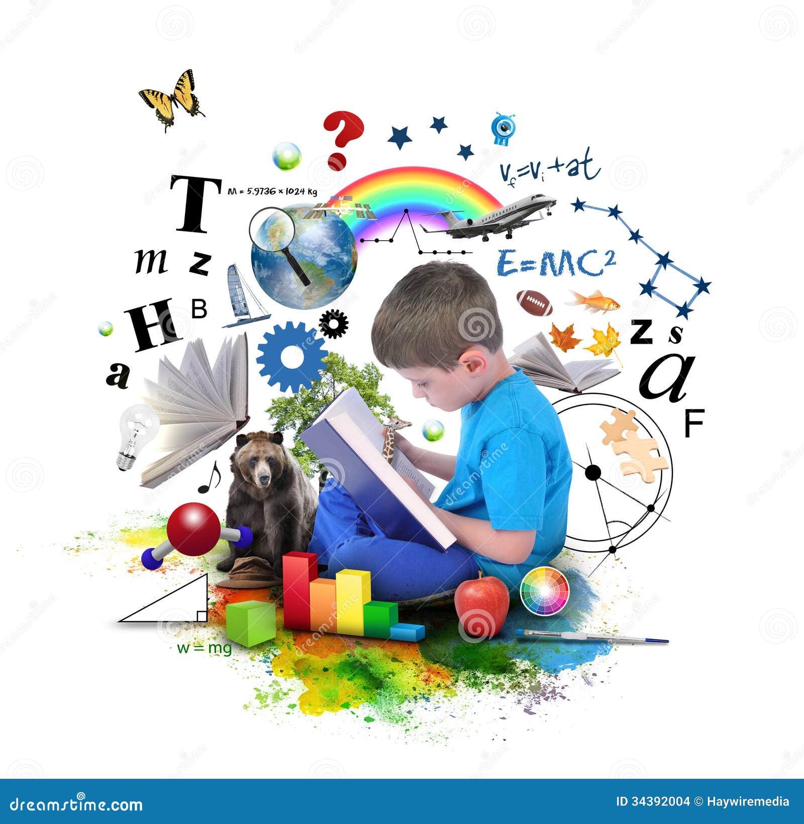 Livro da educação da leitura do menino no branco