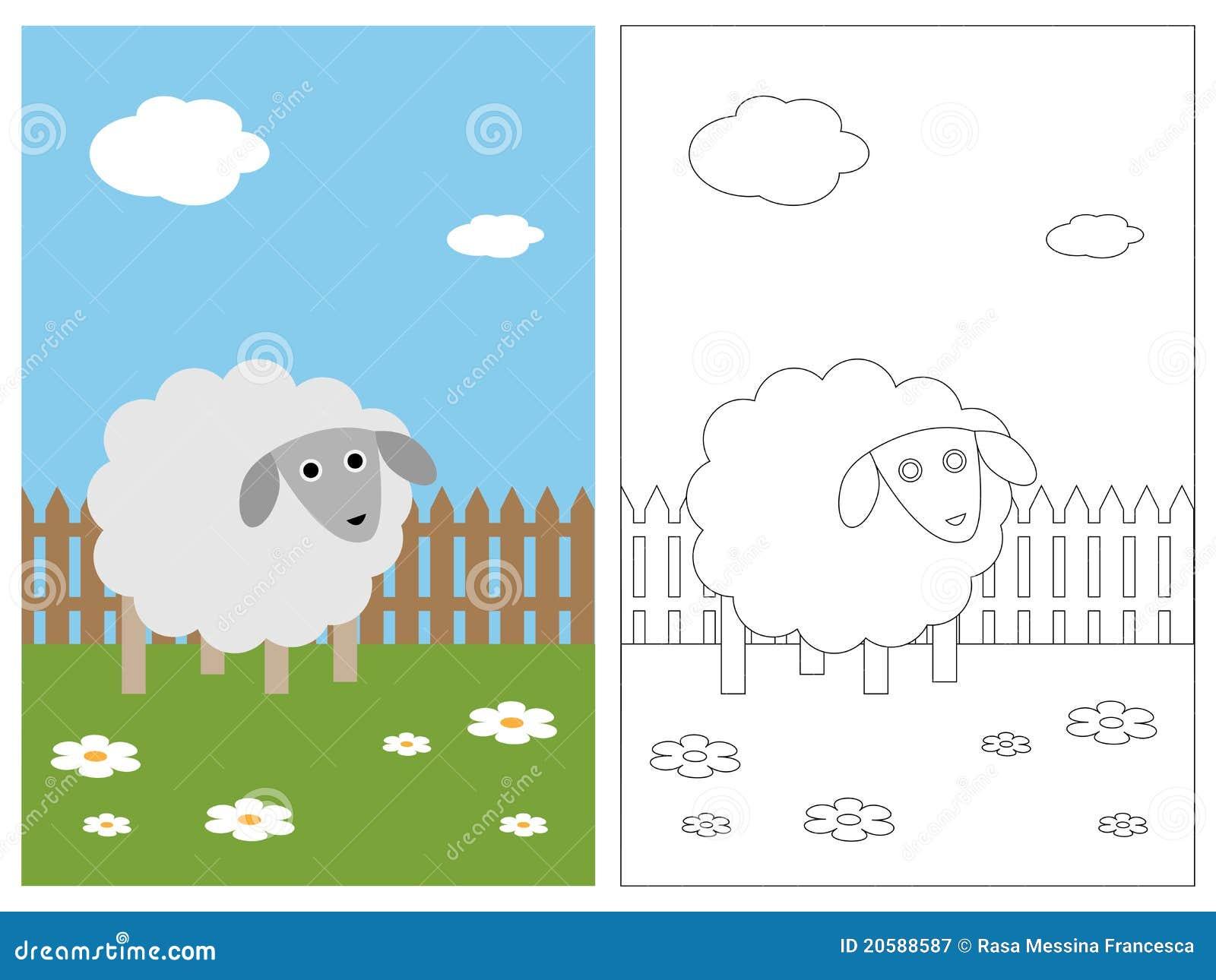 Livro da página da coloração - carneiro