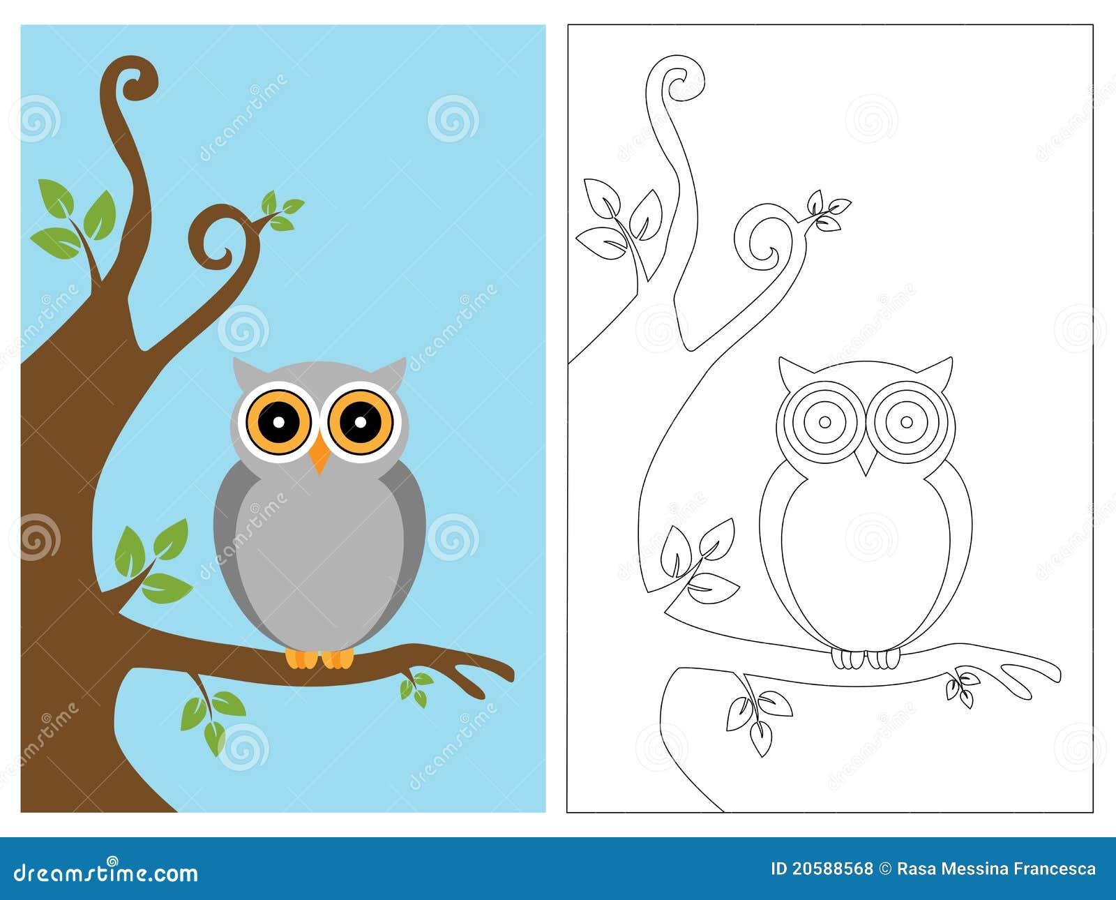 Livro da página da coloração - coruja