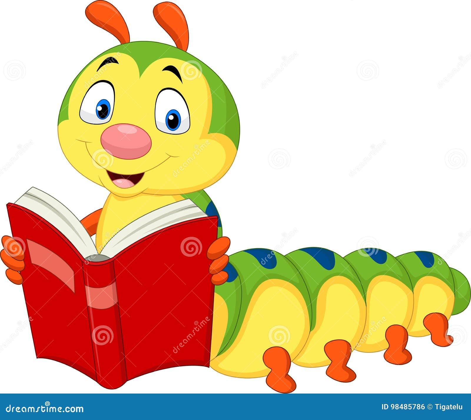 Livro de leitura da lagarta dos desenhos animados