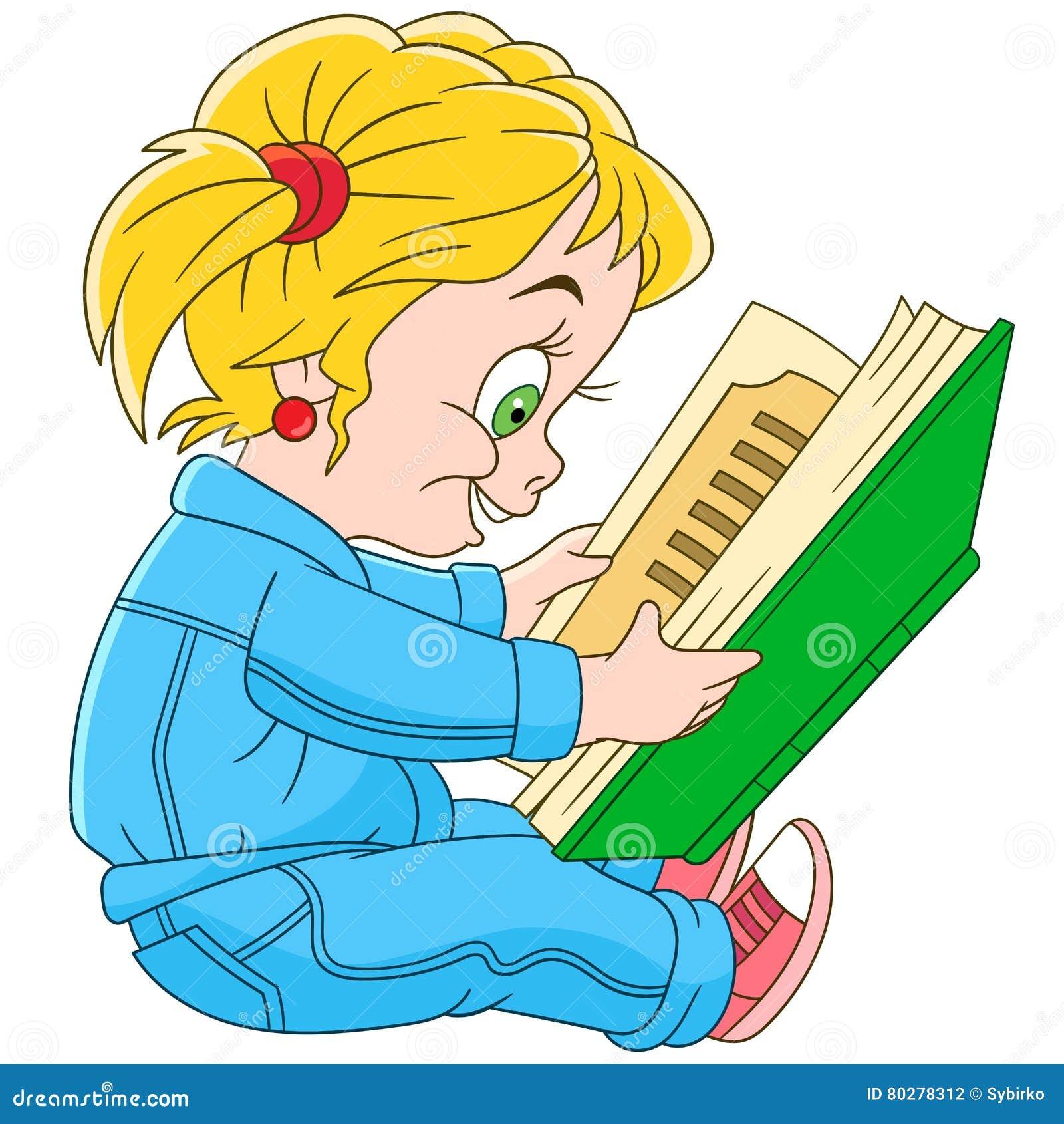 Livro De Leitura Da Menina Dos Desenhos Animados Ilustracao Do