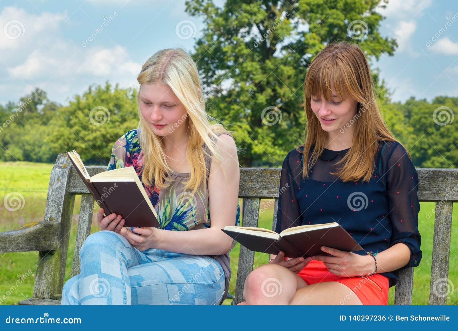 Livro de leitura holandês de dois adolescentes no banco fora