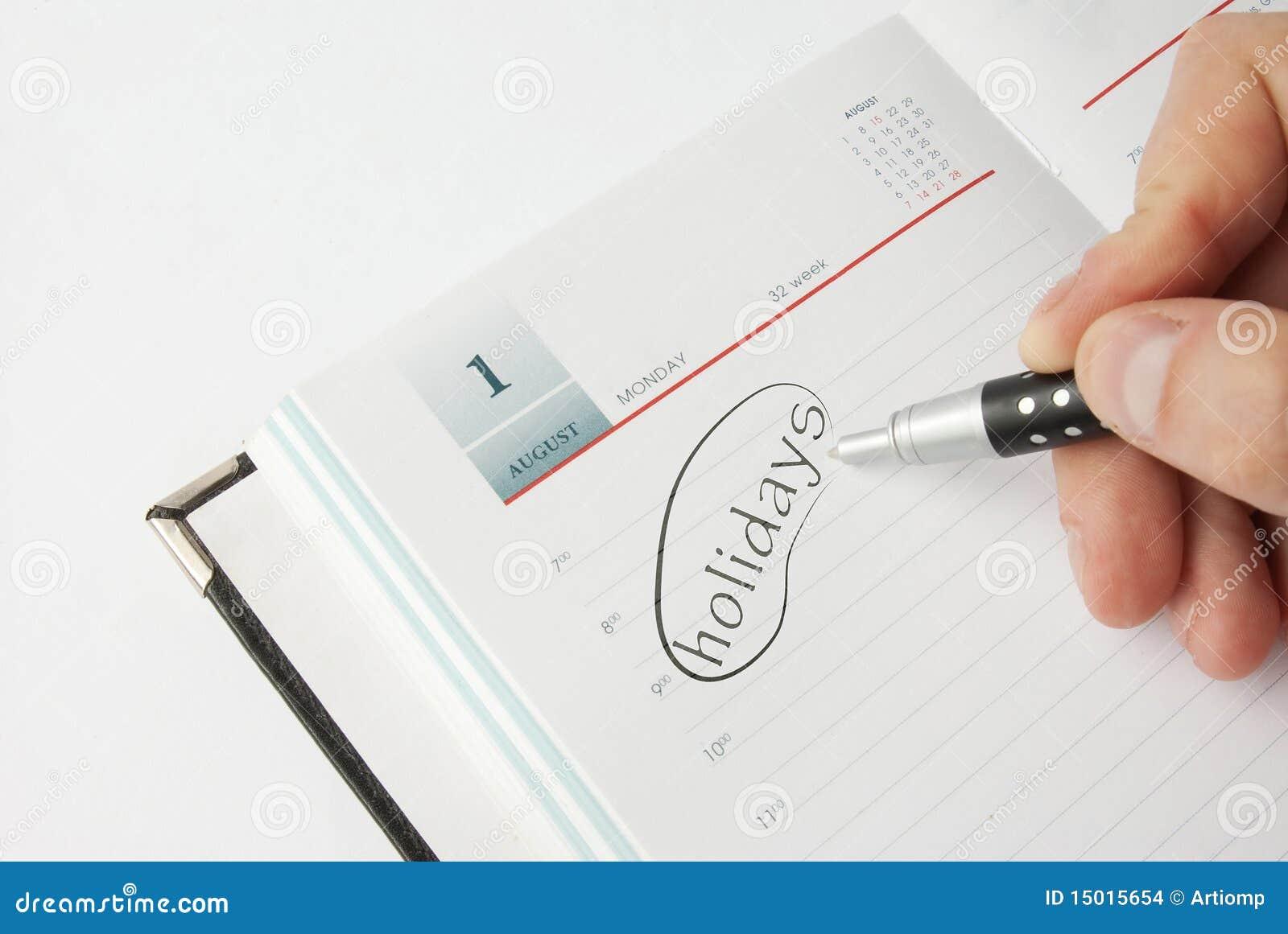 Livro de nomeação com texto do feriado