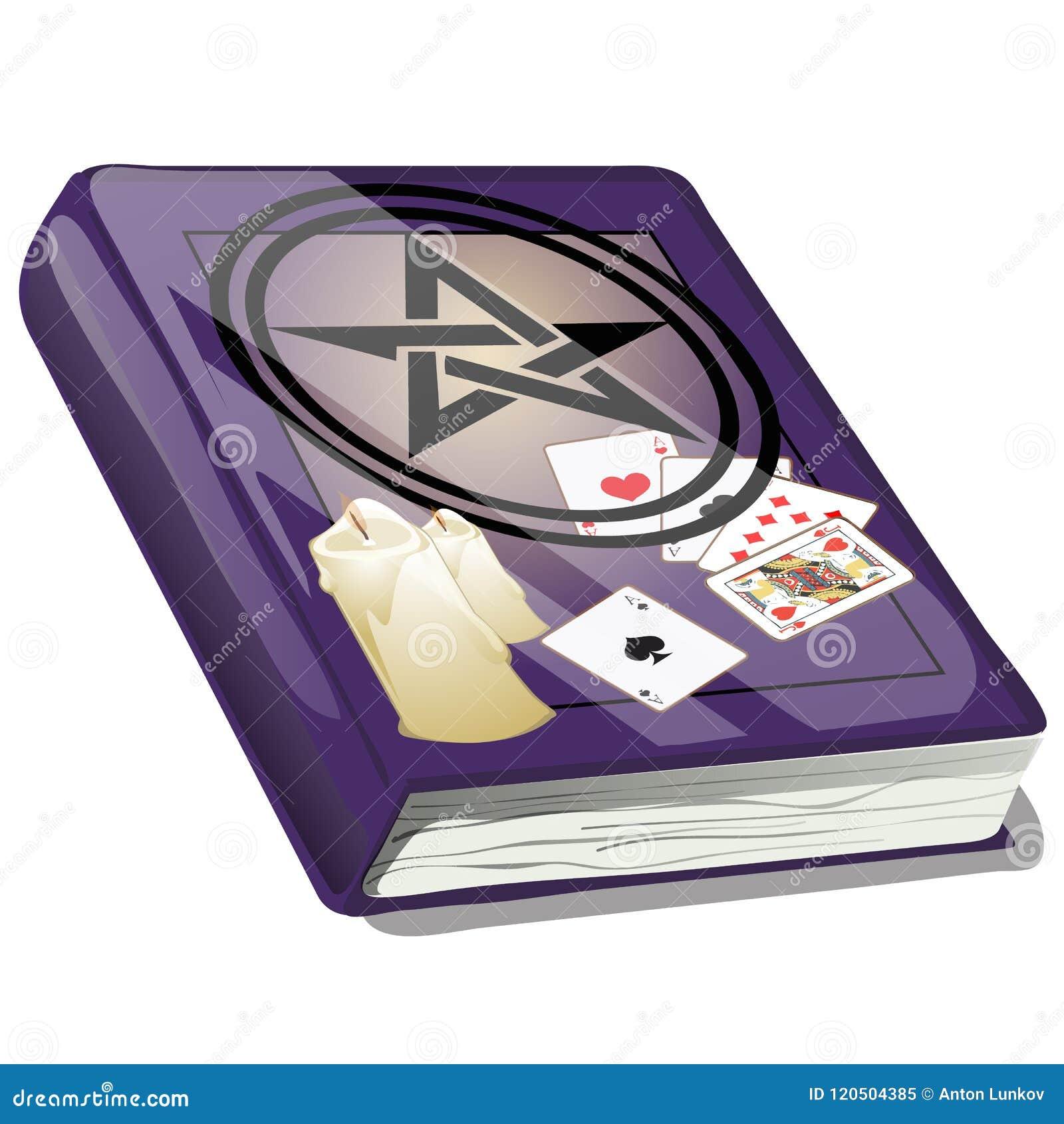 Livro de Ouija mágico isolado no fundo branco Esboço para o cartão, o cartaz festivo ou o convite do partido