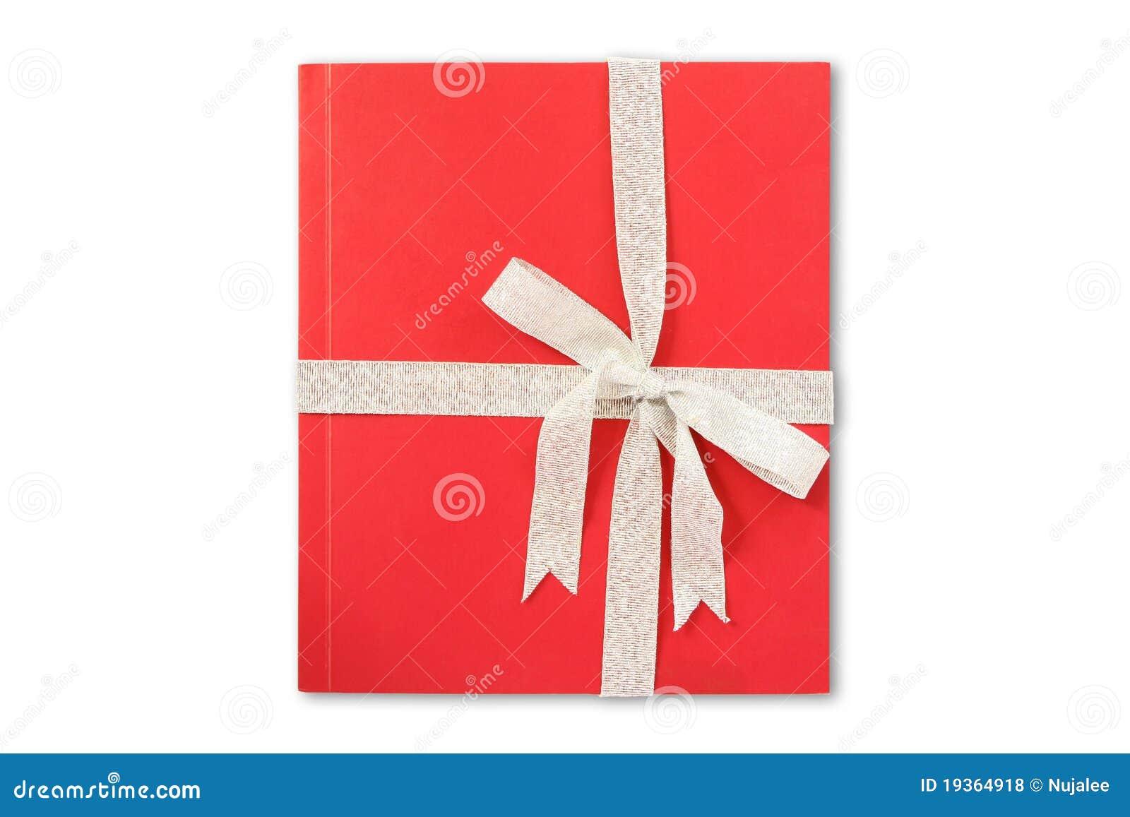 Livro de presente vermelho com fita