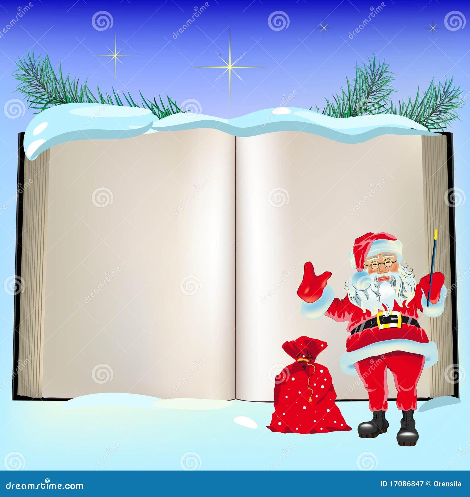 Livro e Papai Noel abertos do Natal