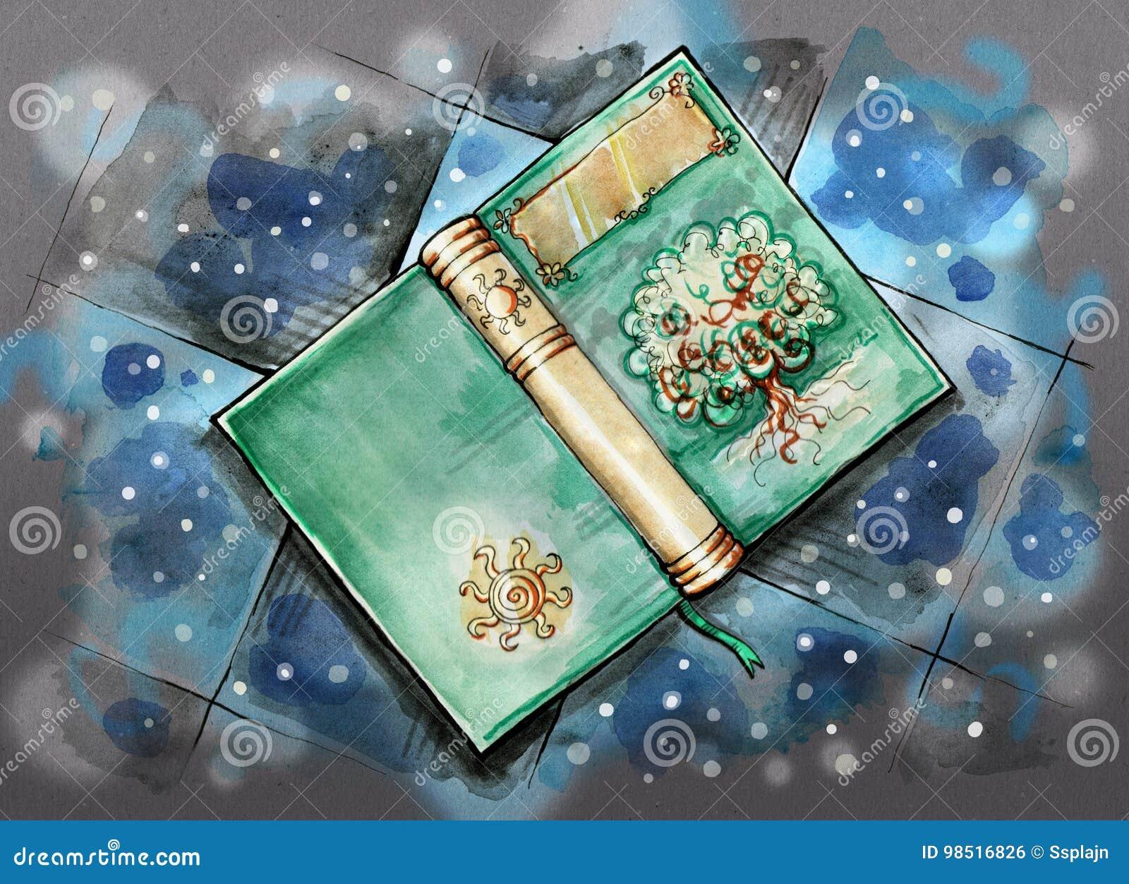 Livro mágico no assoalho