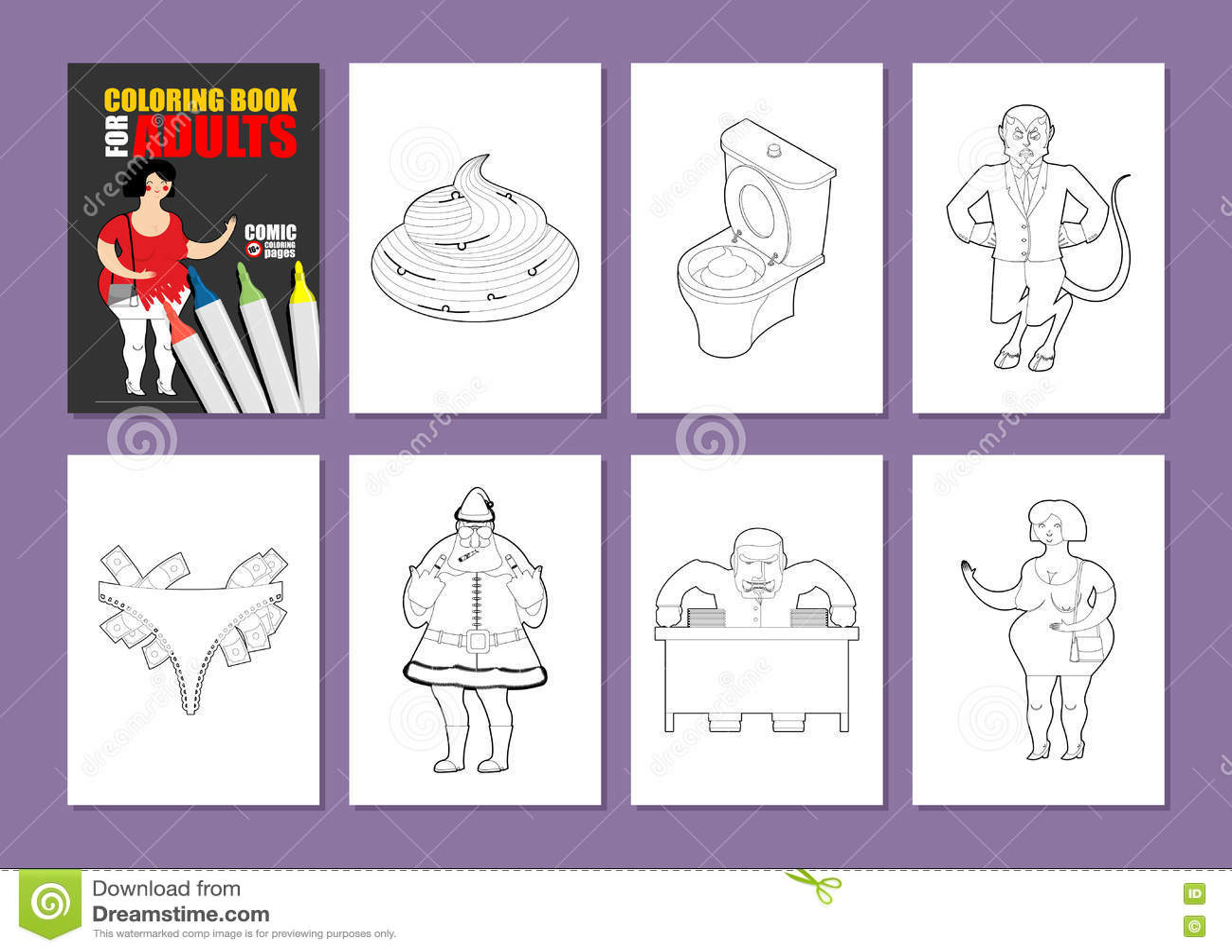 Livro para colorir adulto humor que tira a coloração principal Prostituta dentro