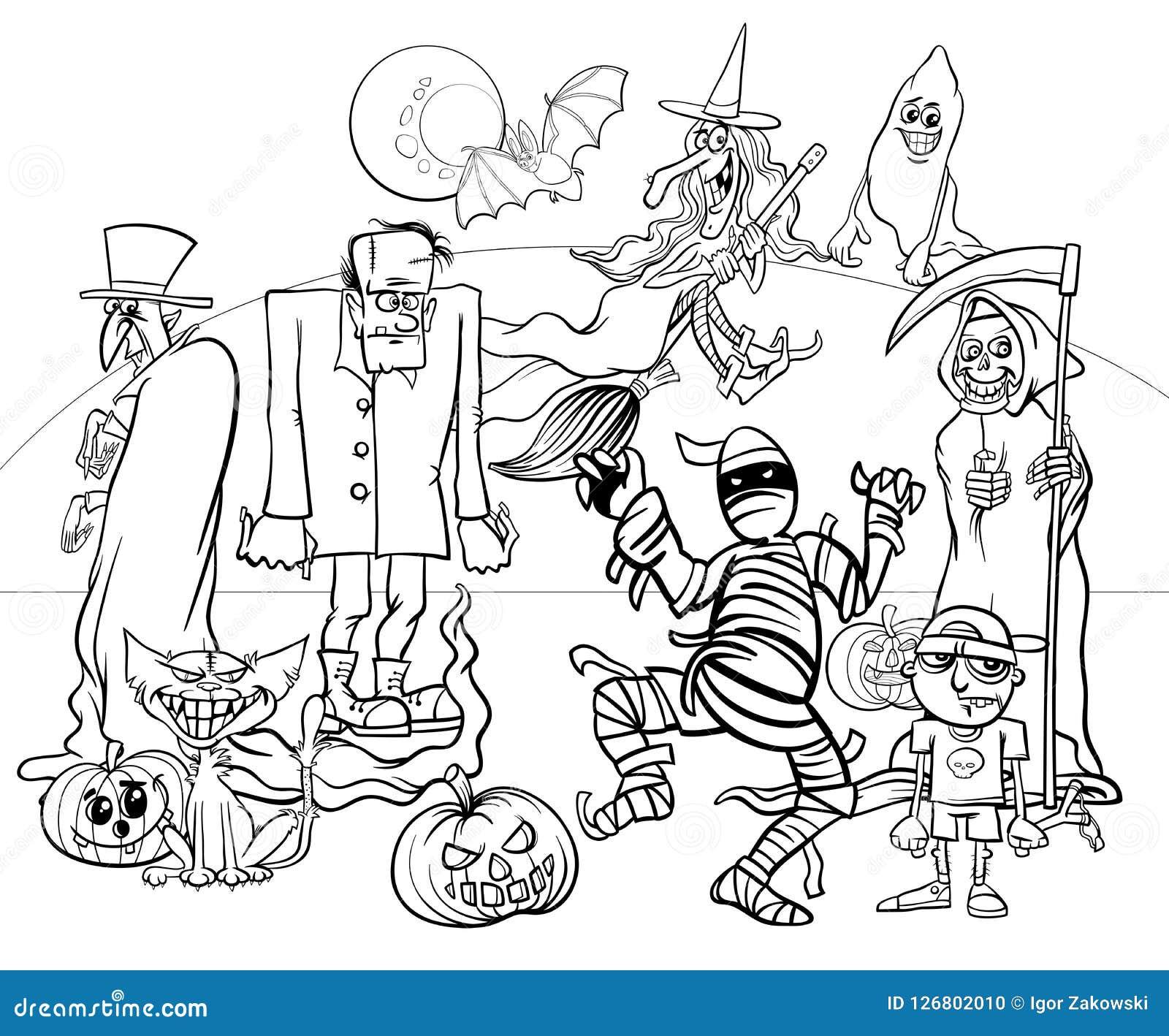Livro Para Colorir Assustador Dos Carateres Dos Desenhos Animados