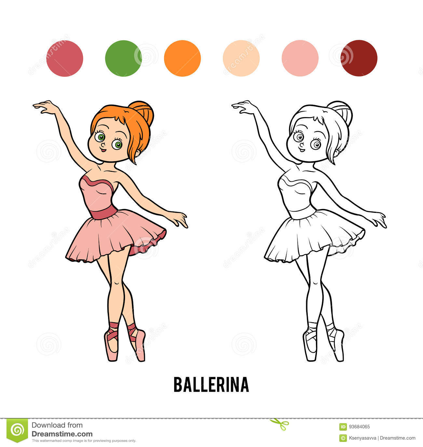 Livro Para Colorir Bailarina Ilustração Do Vetor