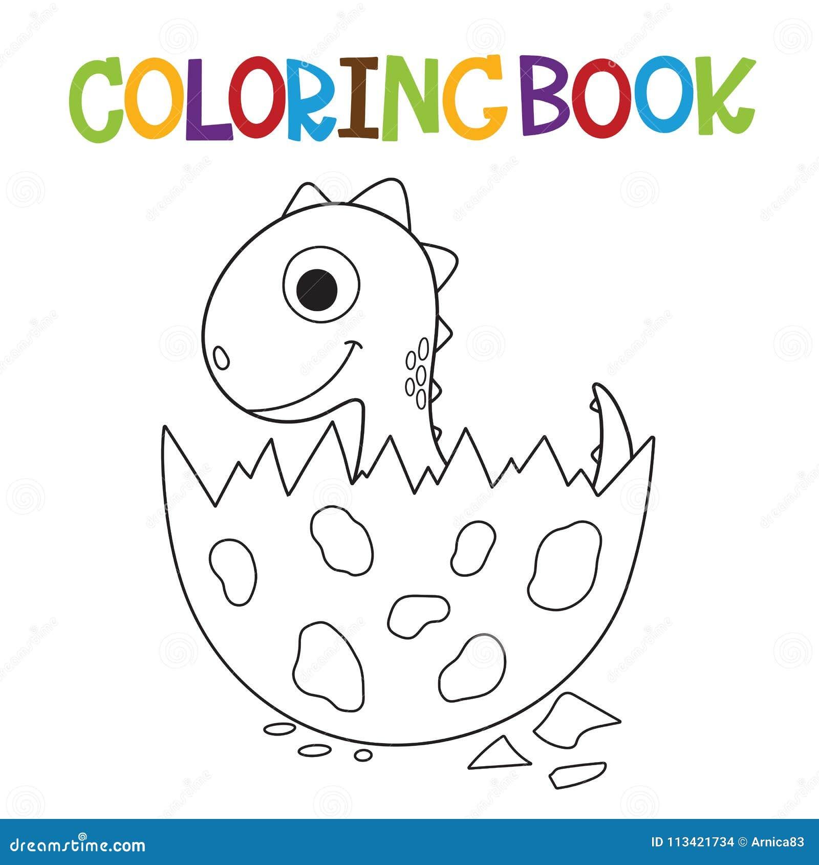 Livro Para Colorir Bonito De Dino Ilustracao Do Vetor Ilustracao