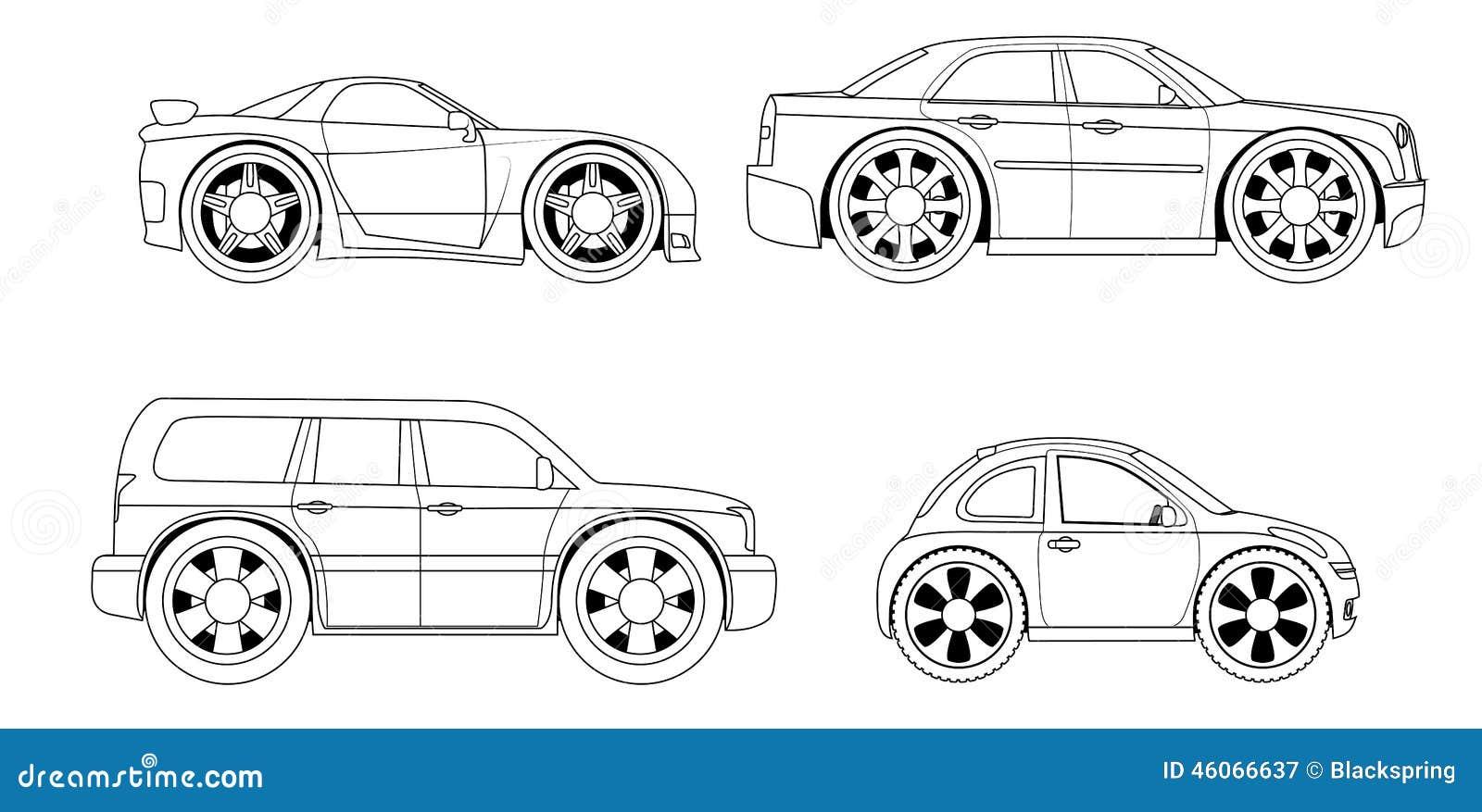 Livro Para Colorir Carros Estilizados Ajustados Ilustracao Do