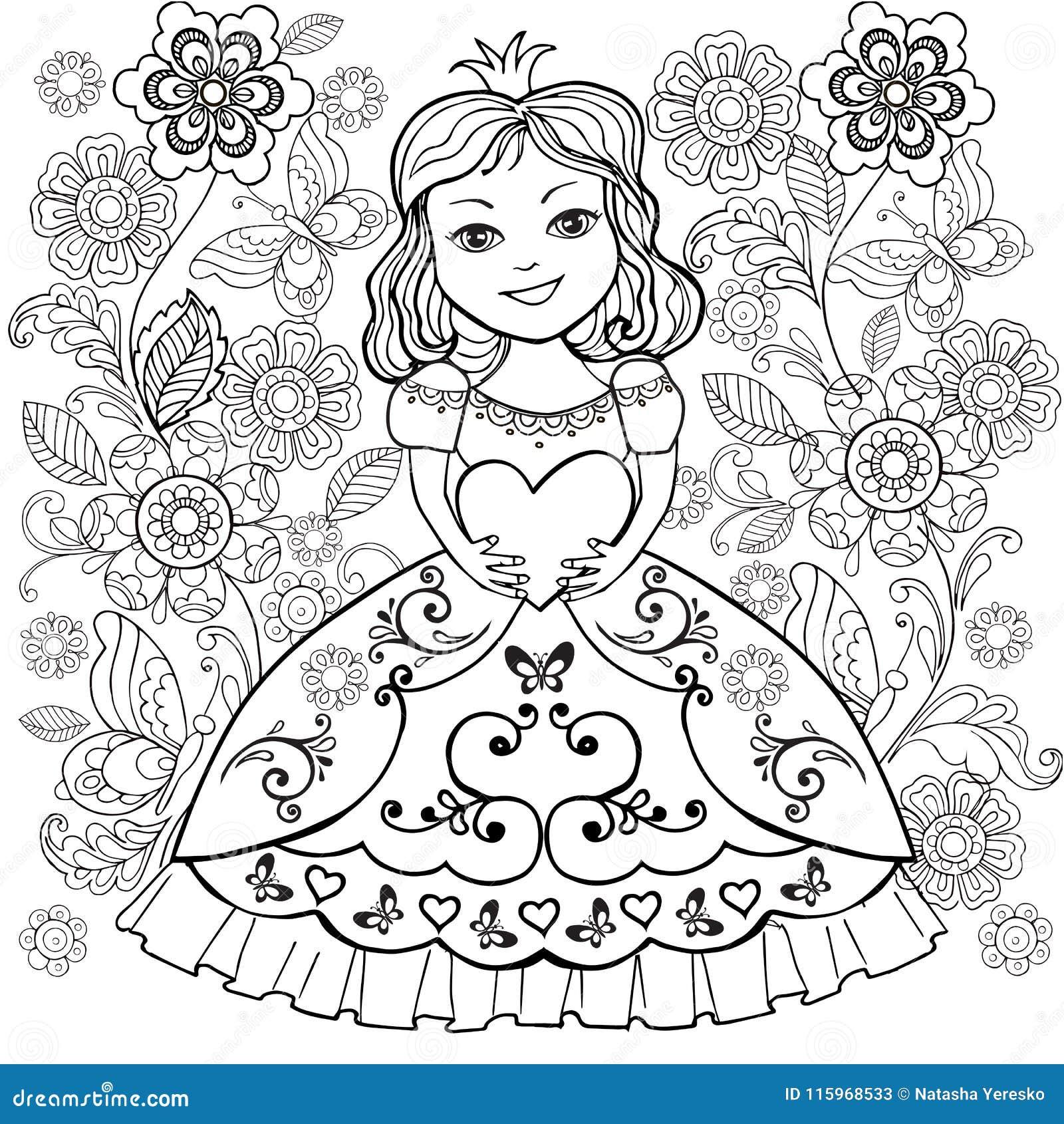 Livro Para Colorir Com Coracao Pequeno De Princesa Em Suas Maos