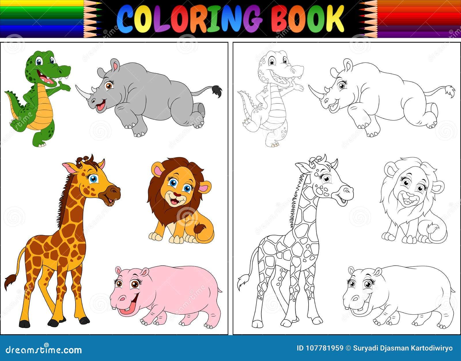Livro Para Colorir Com Desenhos Animados Dos Animais Selvagens