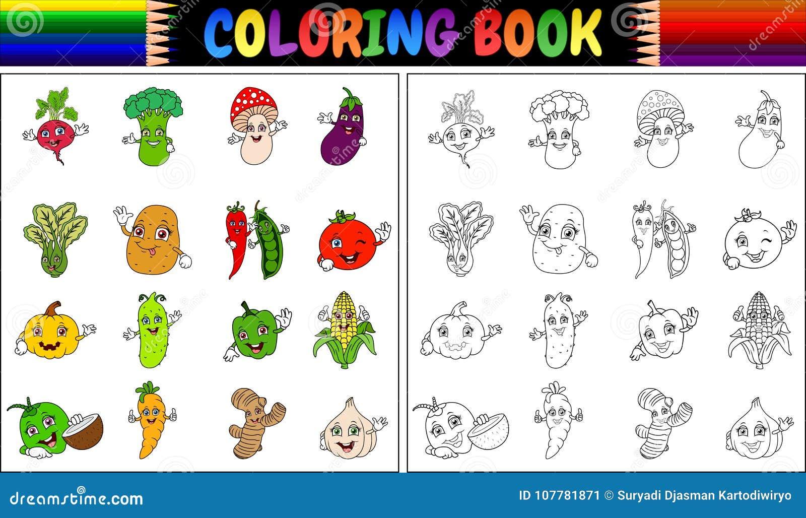 Livro Para Colorir Com Desenhos Animados Dos Legumes Frescos