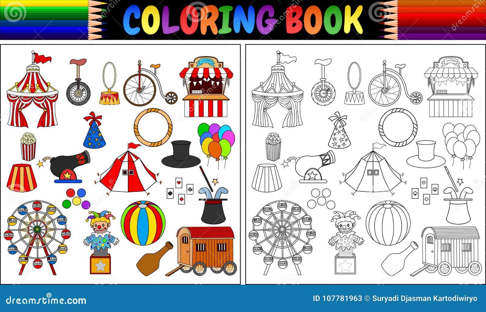 Livro Para Colorir Com Os ícones Do Parque De Diversões
