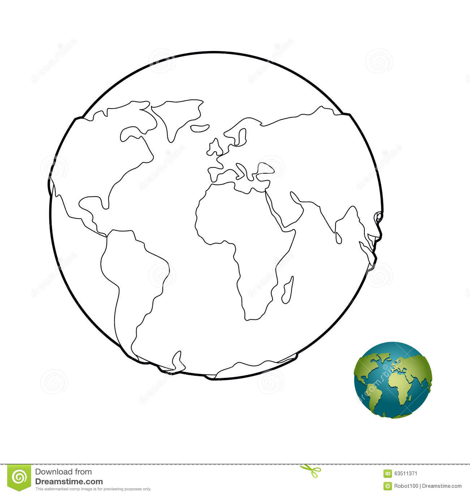 Livro Para Colorir Da Terra Corpo Celestial Planeta Com Continente