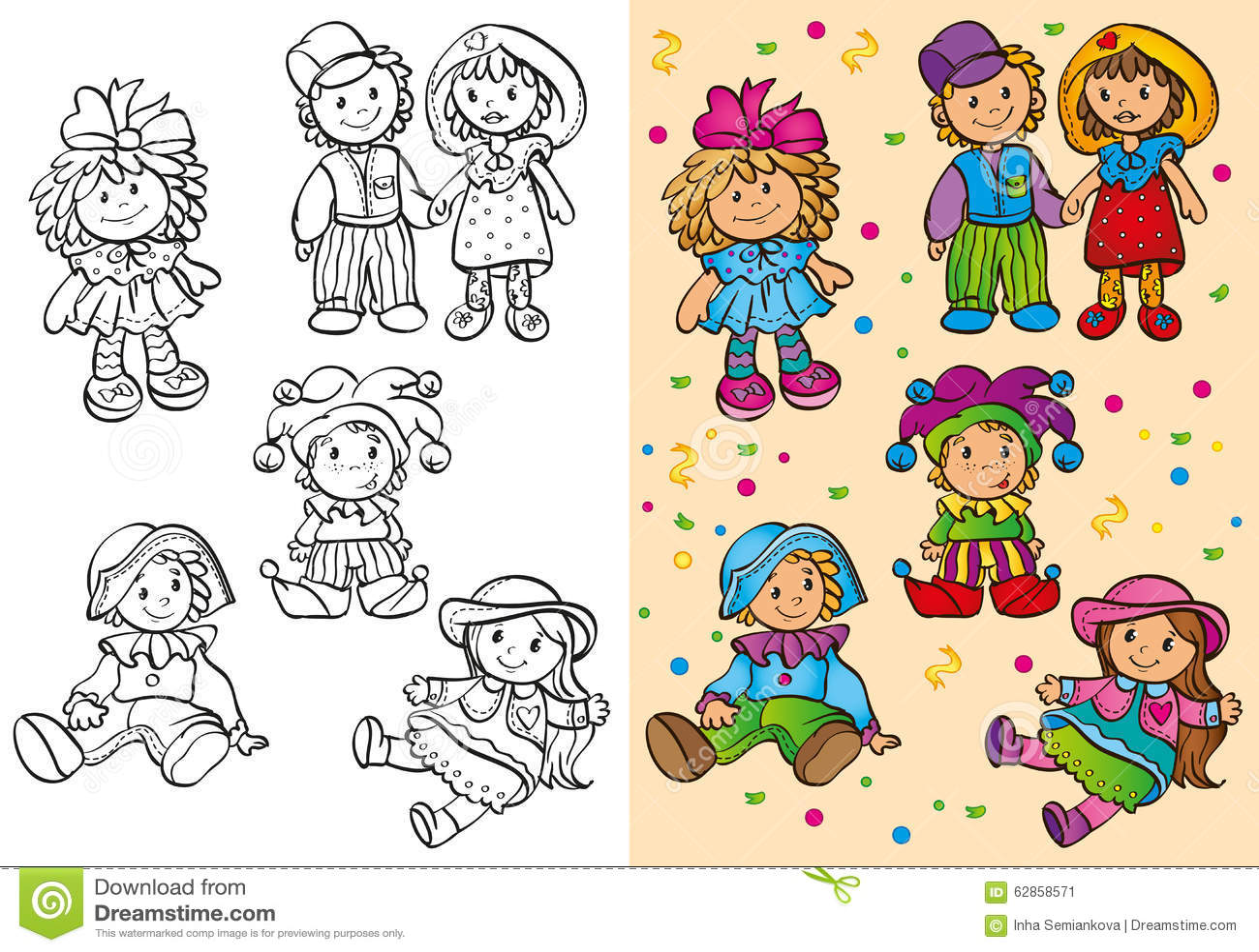 Livro Para Colorir De Bonecas Bonitos Diferentes Ilustracao Stock