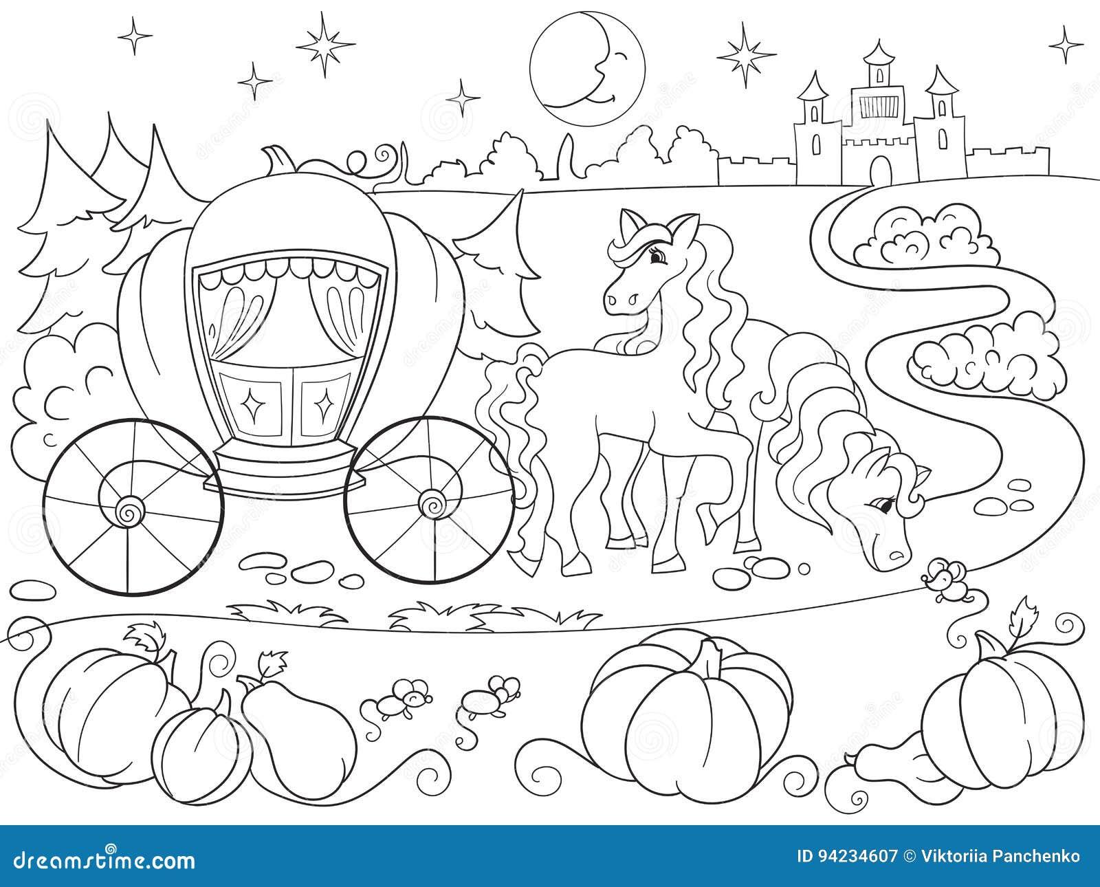 Livro Para Colorir Do Conto De Fadas De Cinderella Para A