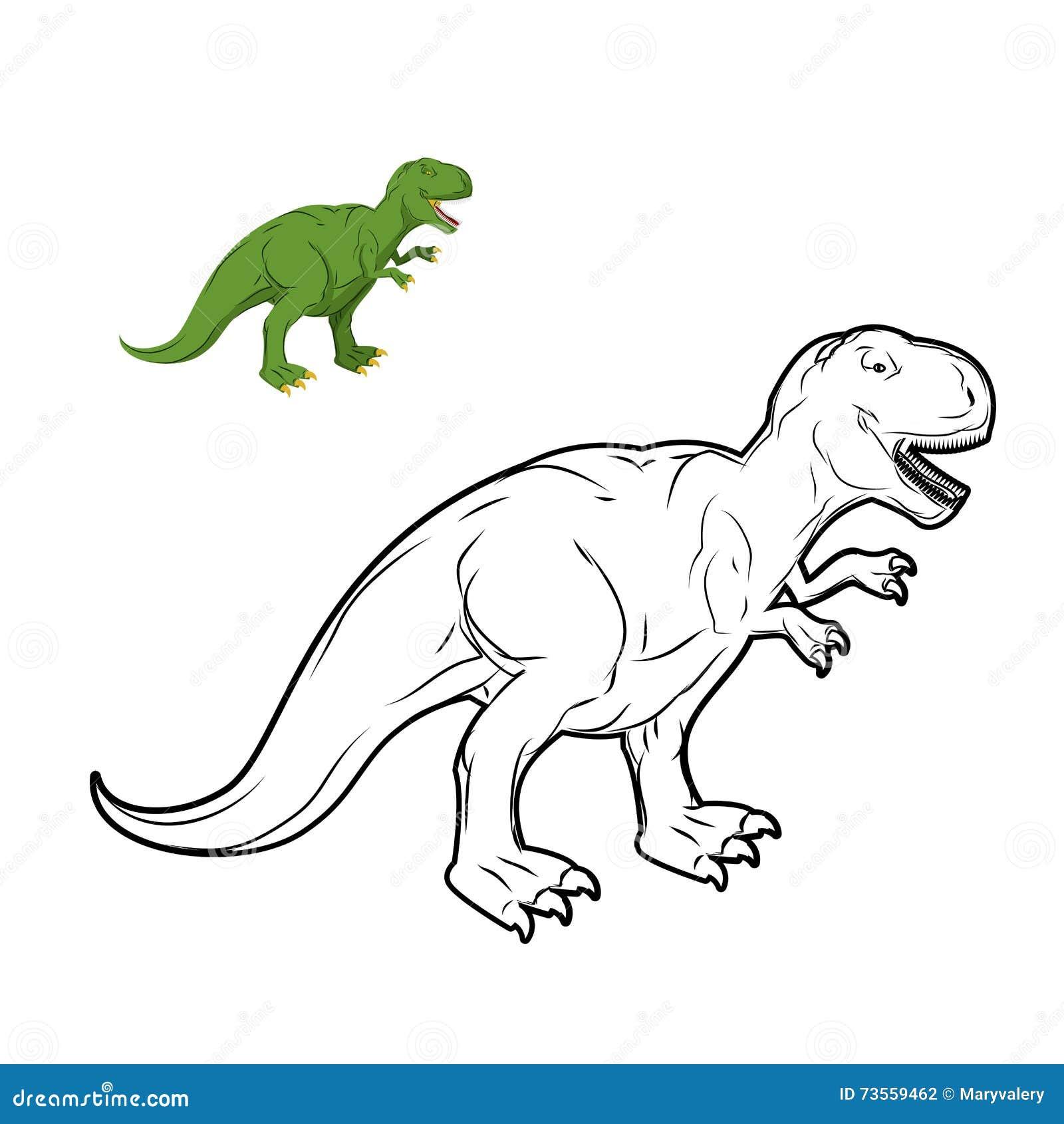 Livro Para Colorir Do Dinossauro De Rex Do Tiranossauro Ilustracao
