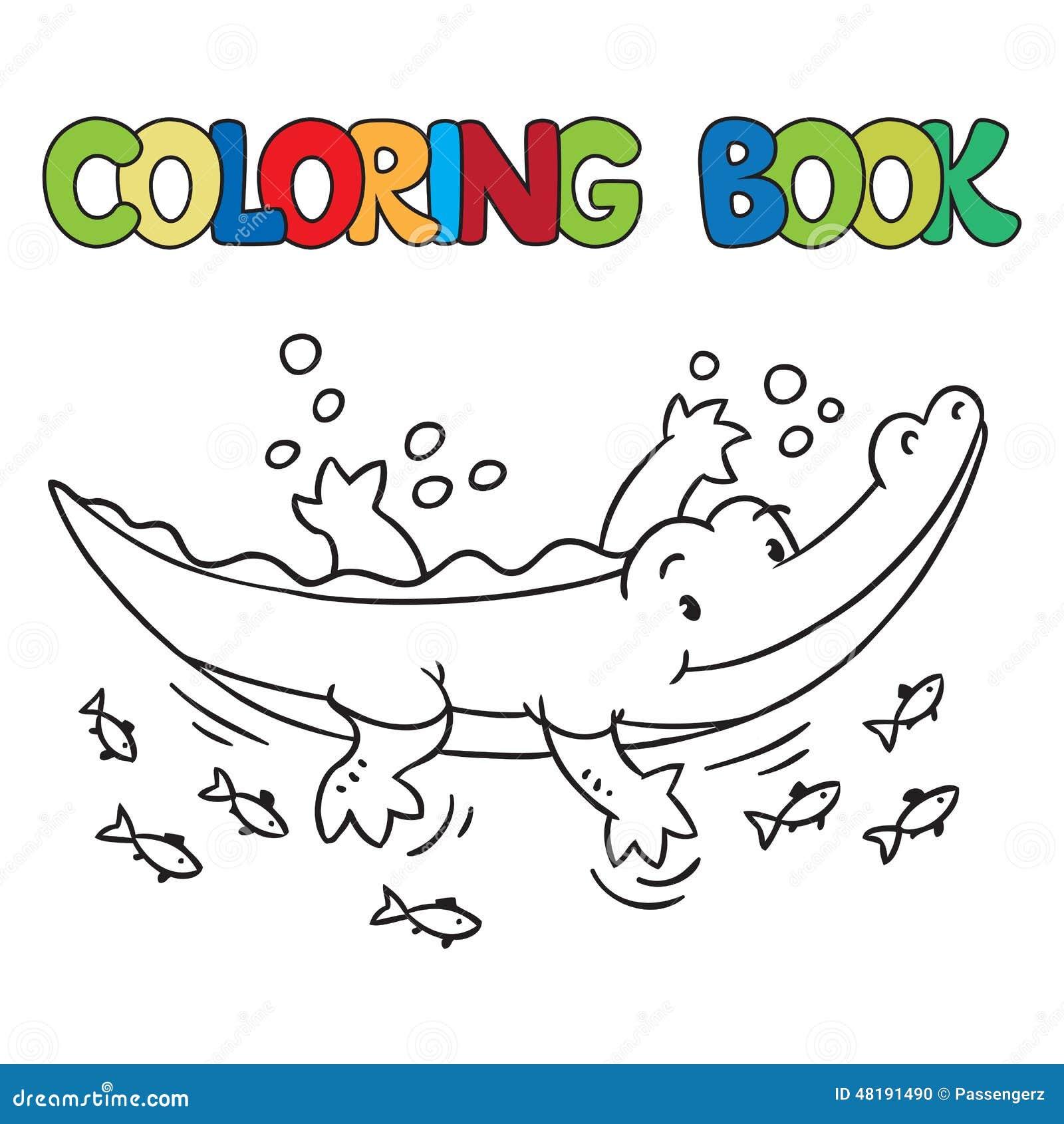 Livro Para Colorir Do Jacare Ou Do Crocodilo Pequeno Ilustracao