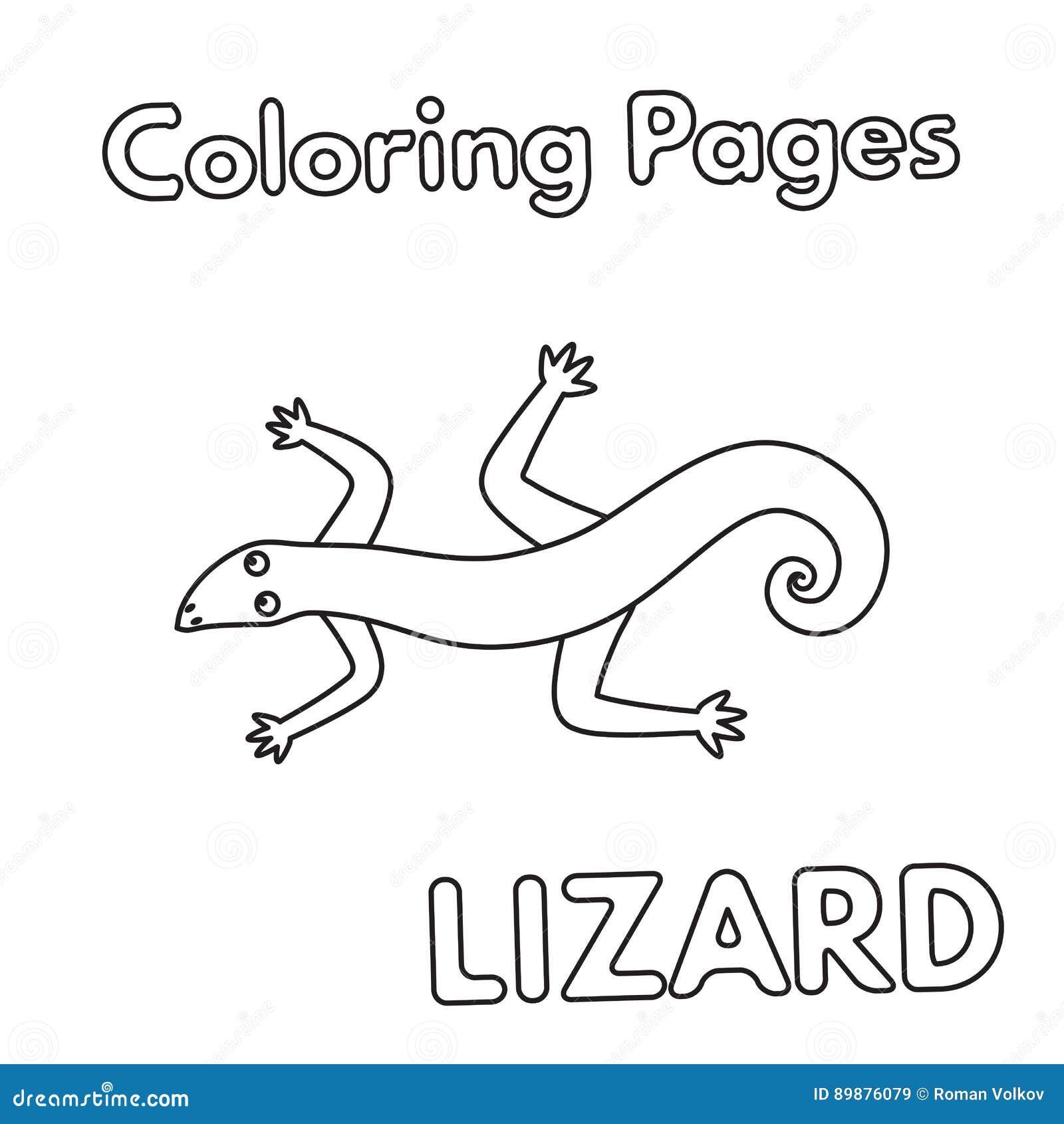 Livro Para Colorir Do Lagarto Dos Desenhos Animados Ilustracao Do